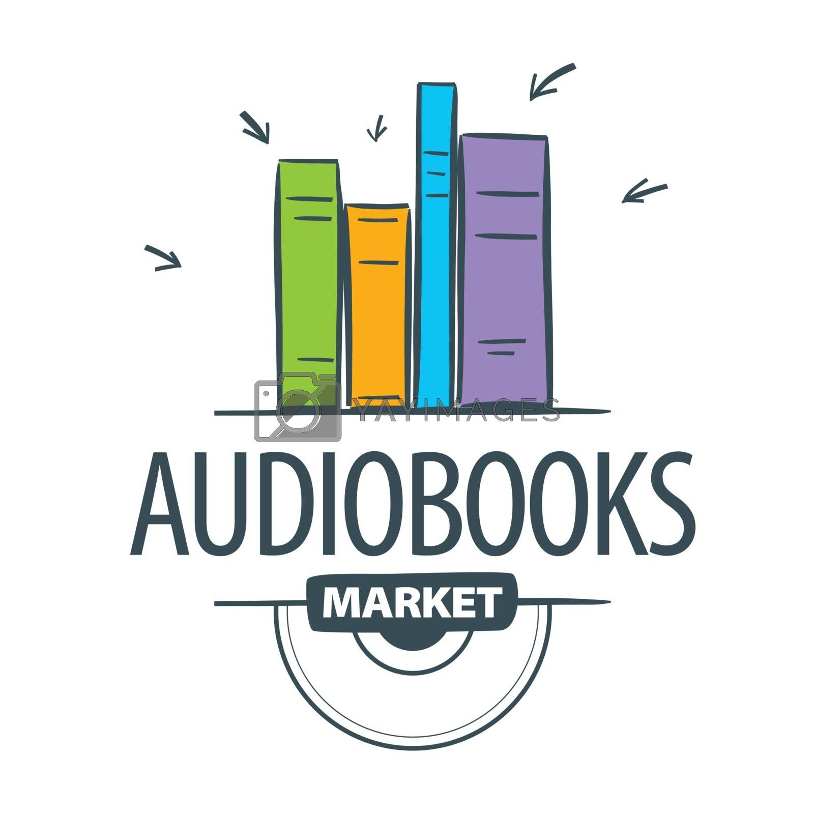vector logo audiobook, books attacked cursors