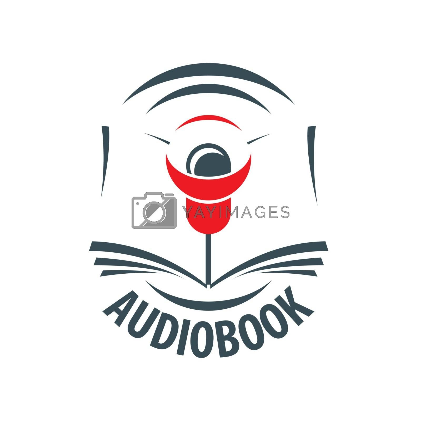 vector logo audiobook with a red speaker