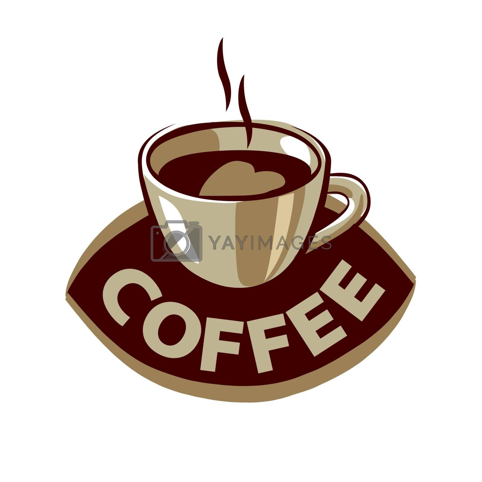 vector logo cups of black coffee with heart