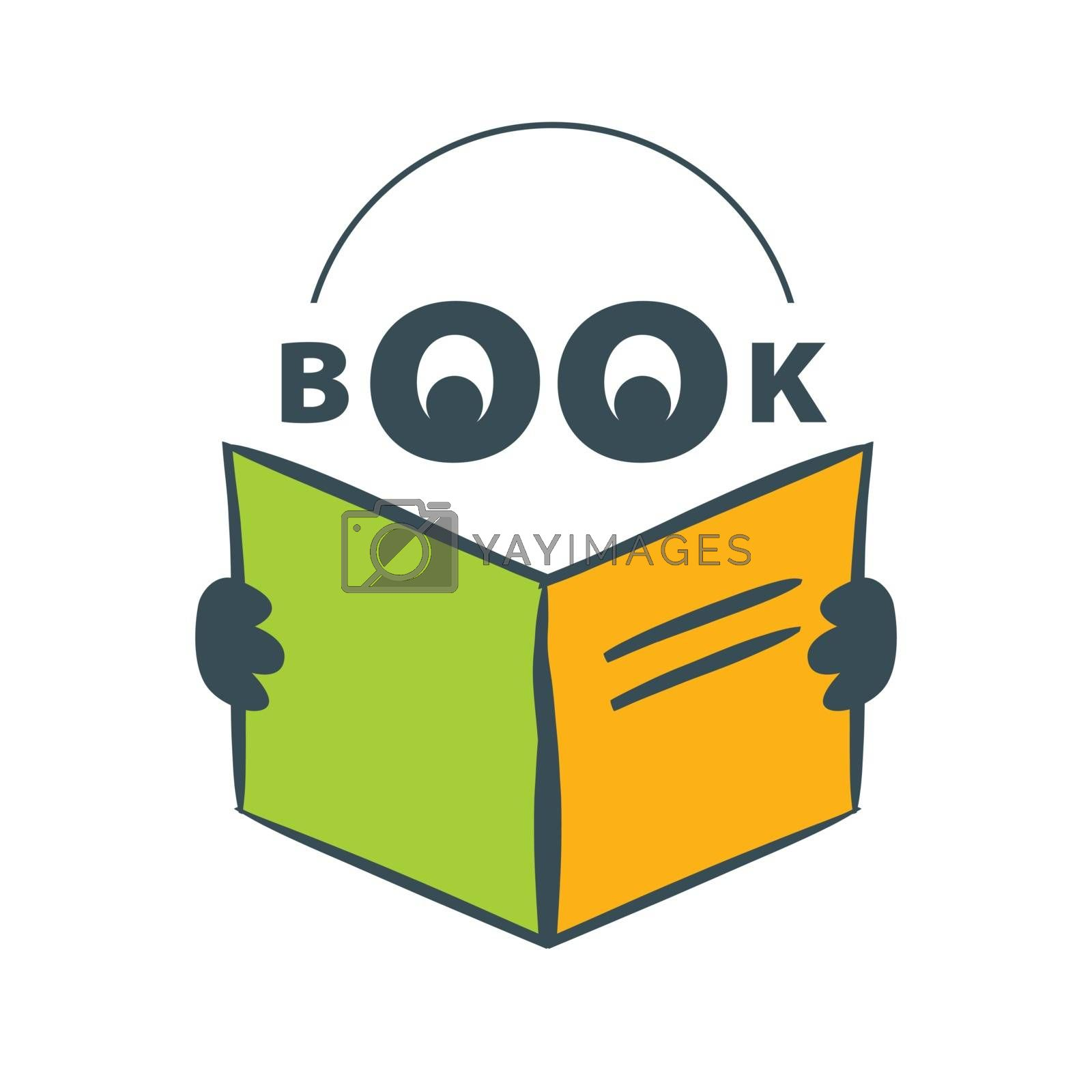 vector logo character with headphones reading a book by butenkow