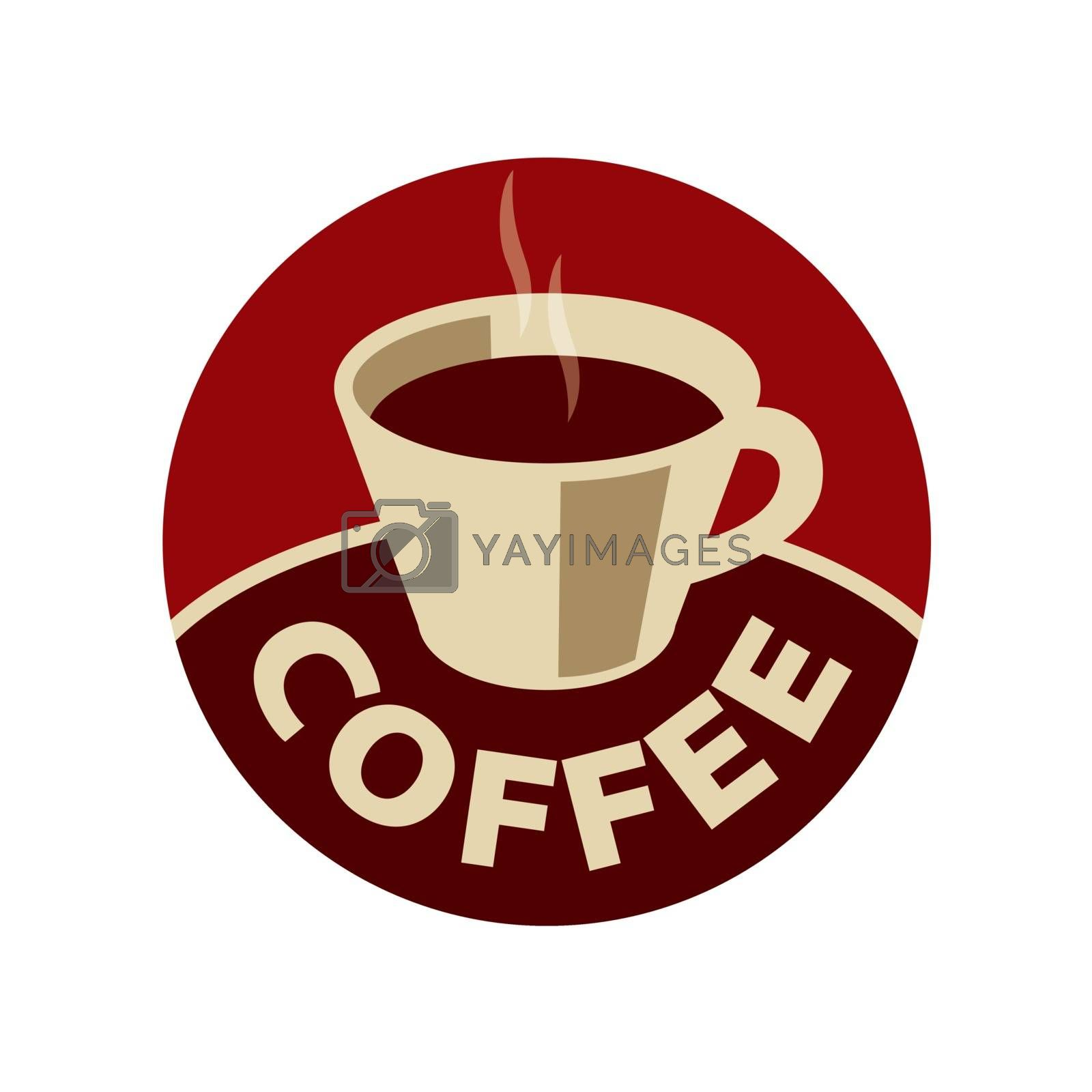 vector logo cup of black coffee by butenkow