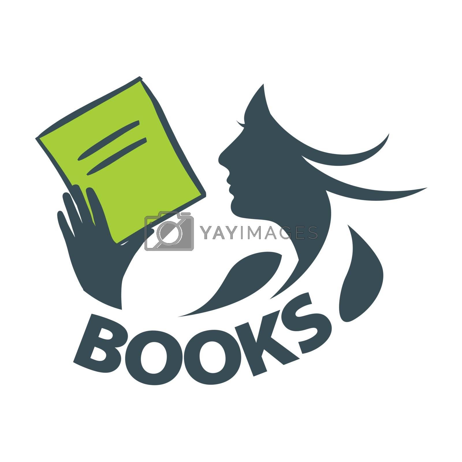 vector logo girl reading a book by butenkow