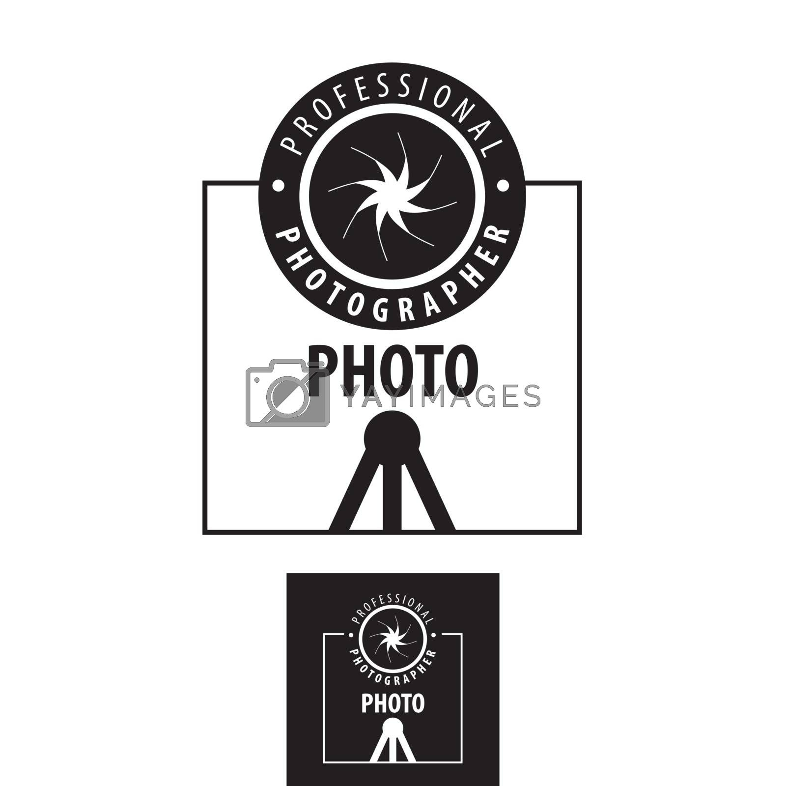 vector logo for photographer lens on a tripod by Butenkov