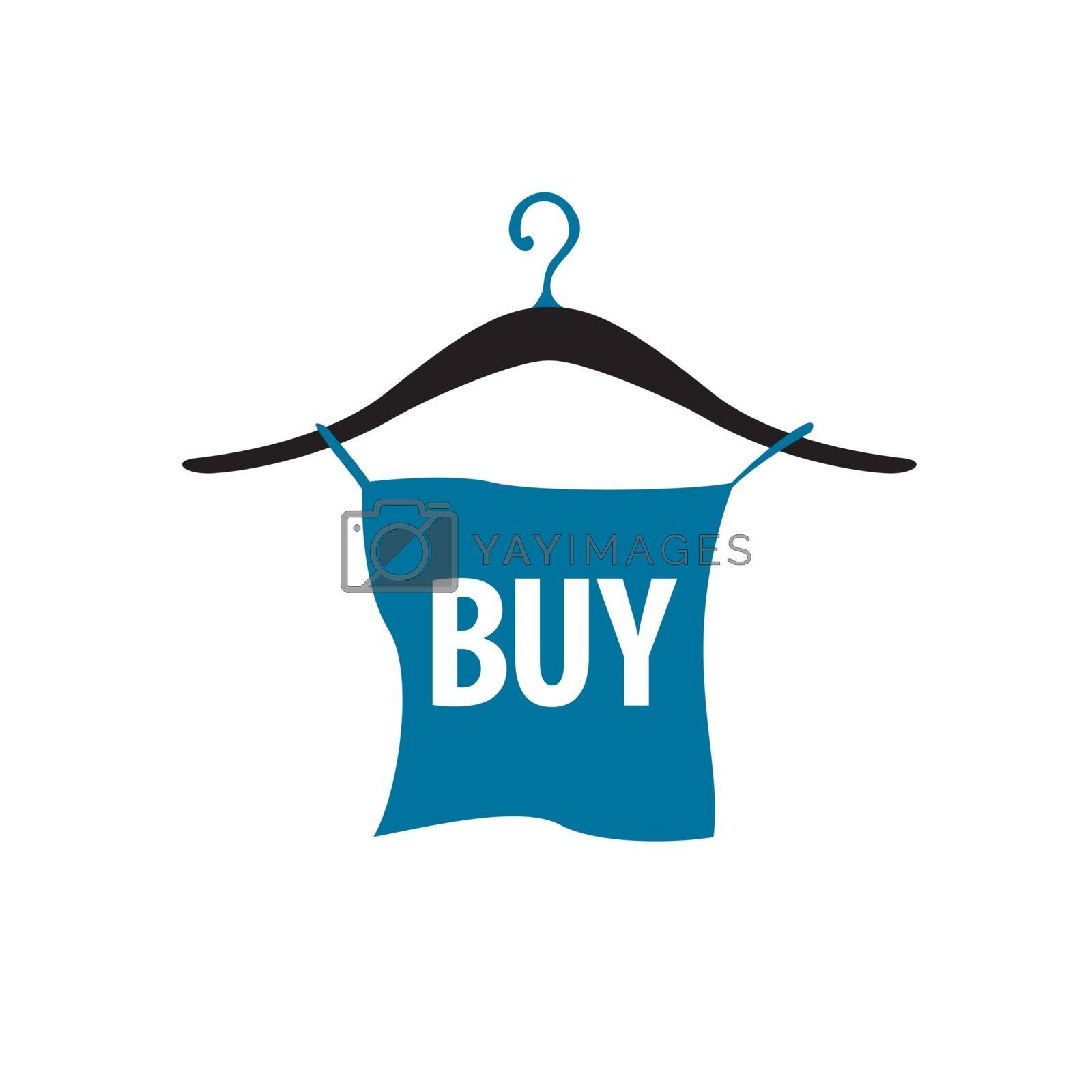 vector logo hanger with blue button by Butenkov