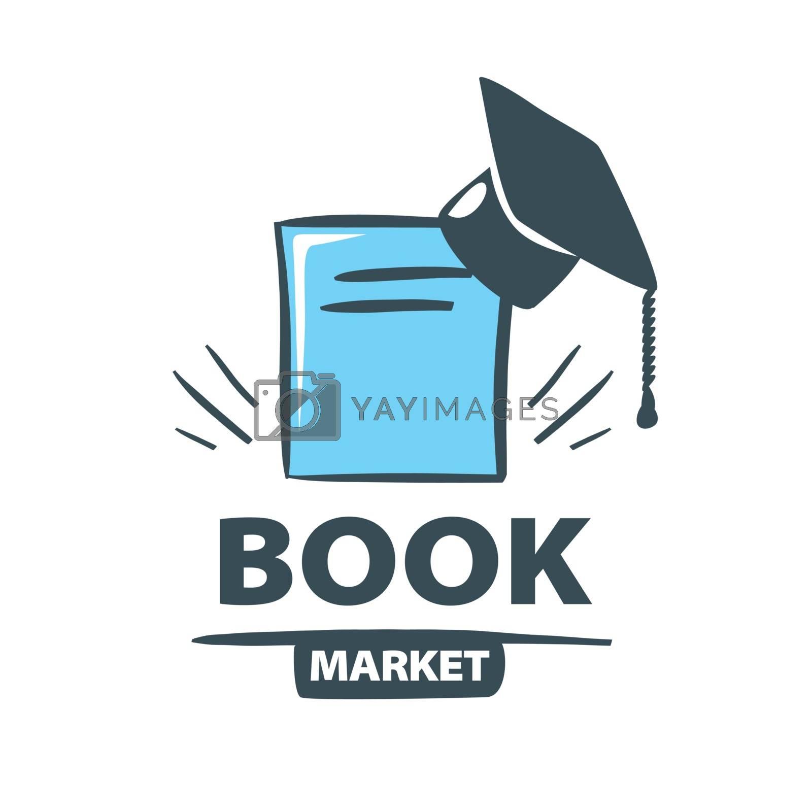 vector logo Oxford cap on the book