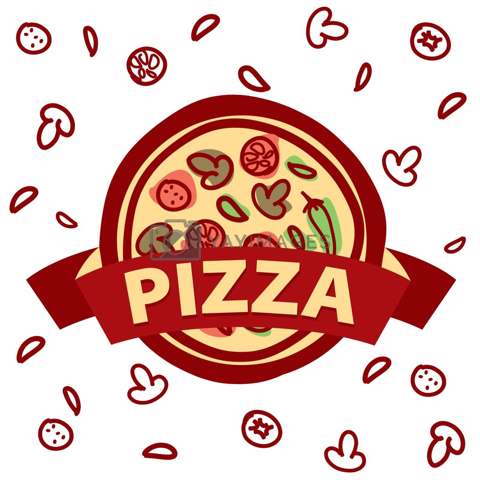 vector logo round pizza and ingredients