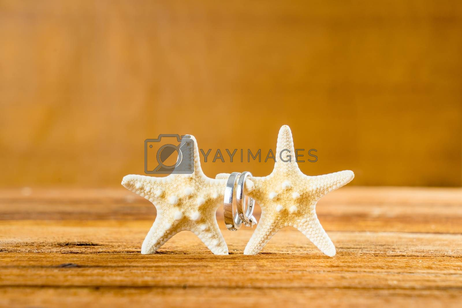 Royalty free image of Two wedding rings with two starfish on wooden table by iamway