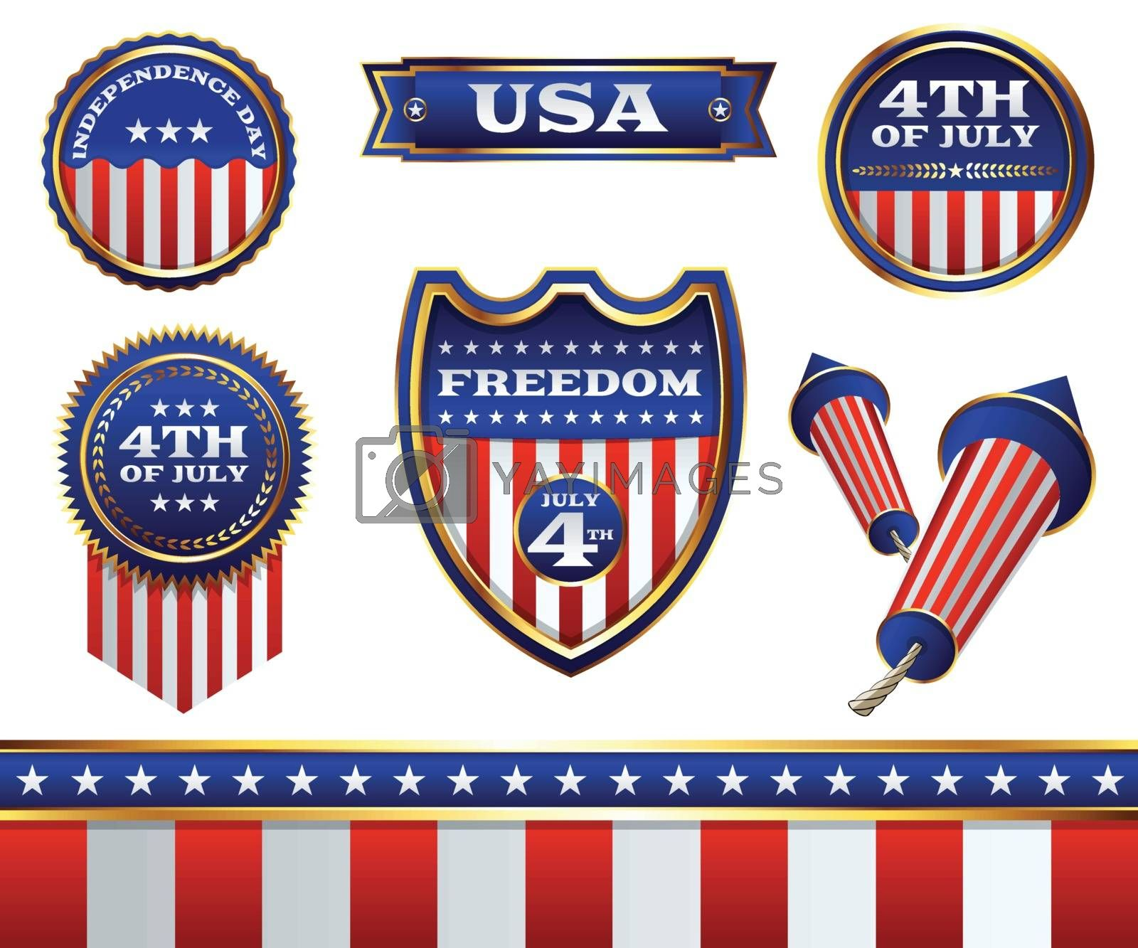 4th of July Badges and Elements Illustration by enterlinedesign
