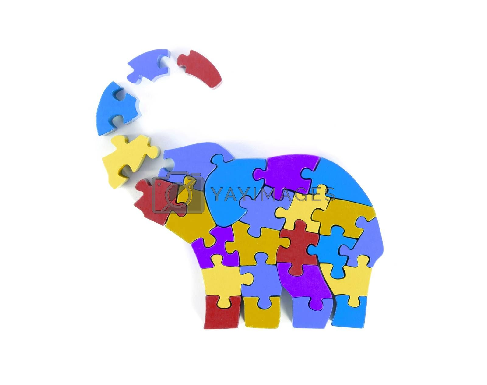 Colorful puzzle pieces in elephant shape - isolated over white