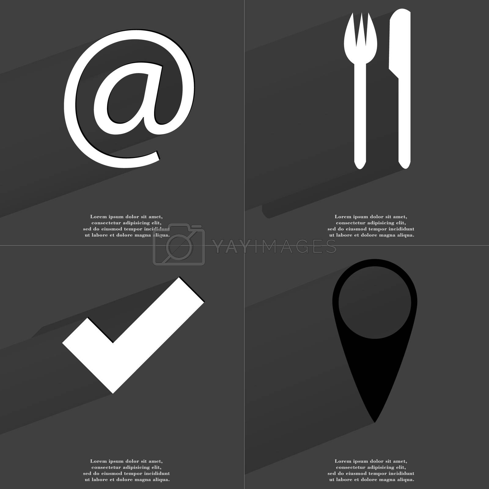 Royalty free image of At sign, Fork and knife, Tick, Checkpoint. Symbols with long shadow. Flat design by serhii_lohvyniuk