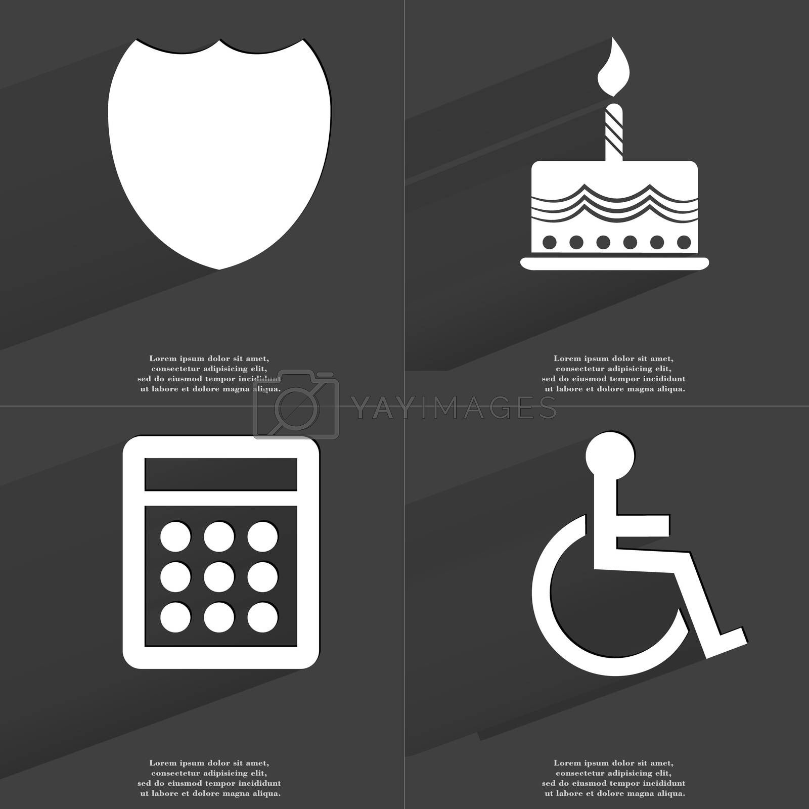 Badge, Cake, Calculator, Disabled person. Symbols with long shadow. Flat design by serhii_lohvyniuk