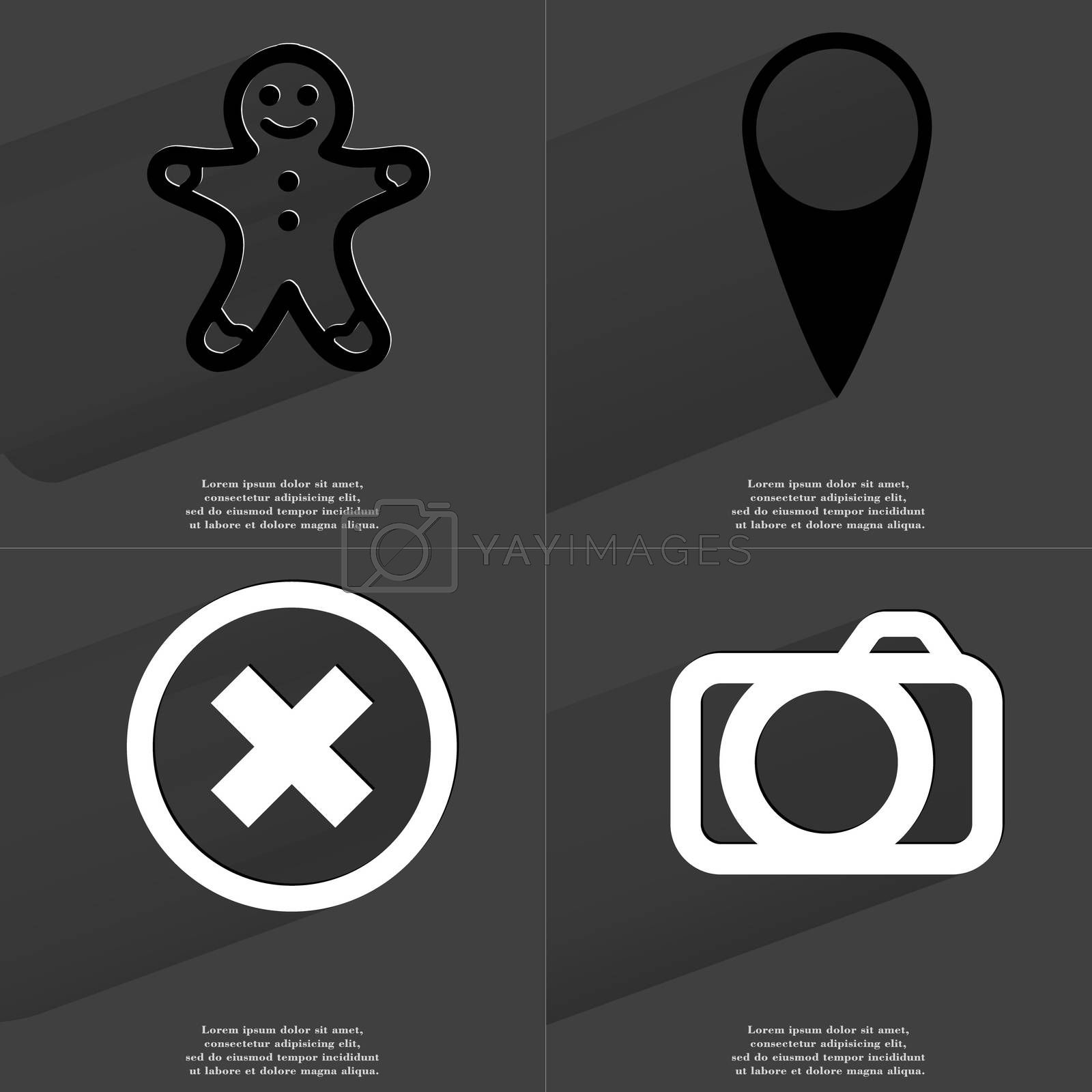 Gingerbread man, Checkpoint, Stop sign, Camera. Symbols with long shadow. Flat design by serhii_lohvyniuk