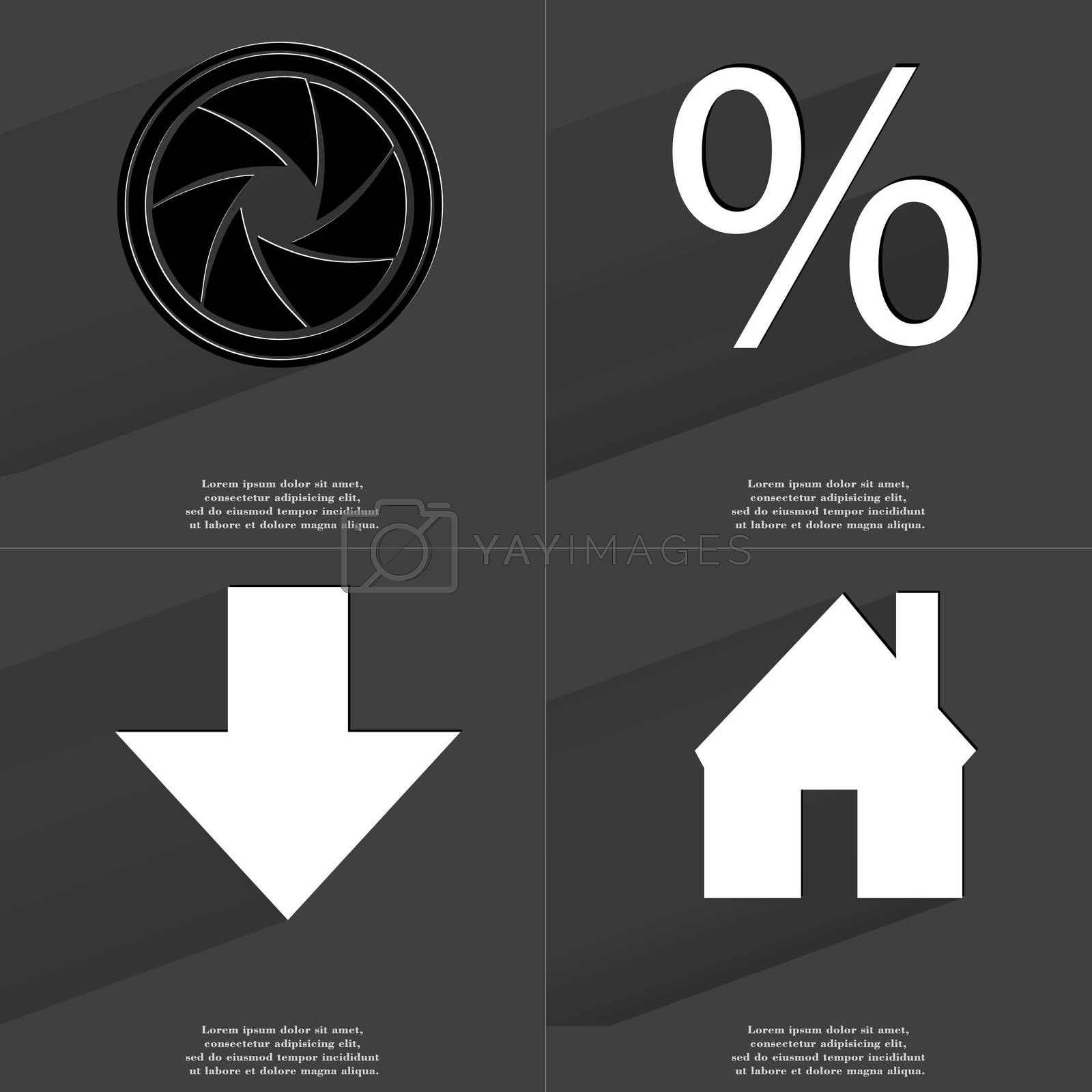 Royalty free image of Lens, Percent sign, Arrows directed down, House. Symbols with long shadow. Flat design by serhii_lohvyniuk