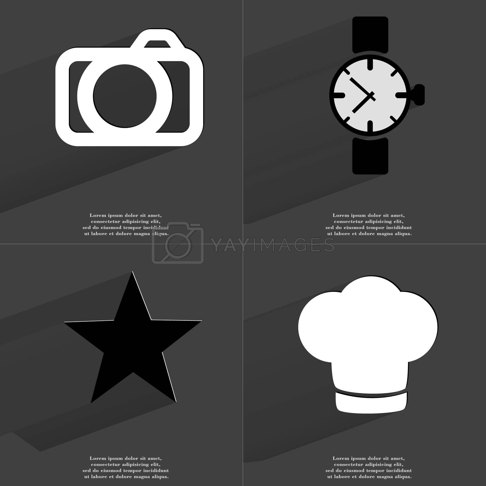 Royalty free image of Camera, Wrist watch, Star, Cooking hat. Symbols with long shadow. Flat design by serhii_lohvyniuk