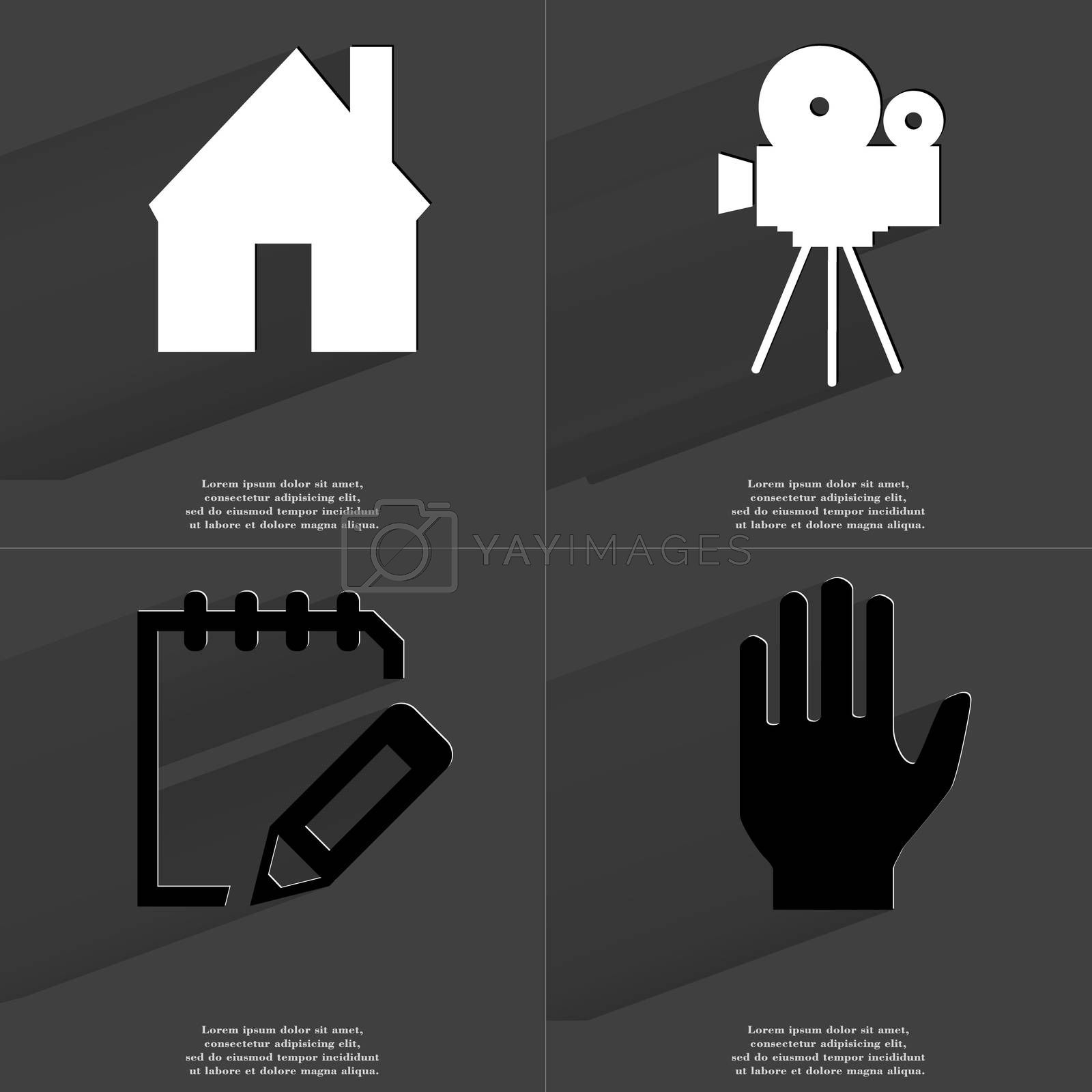Royalty free image of House, Film camera, Notebook, Hand. Symbols with long shadow. Flat design by serhii_lohvyniuk