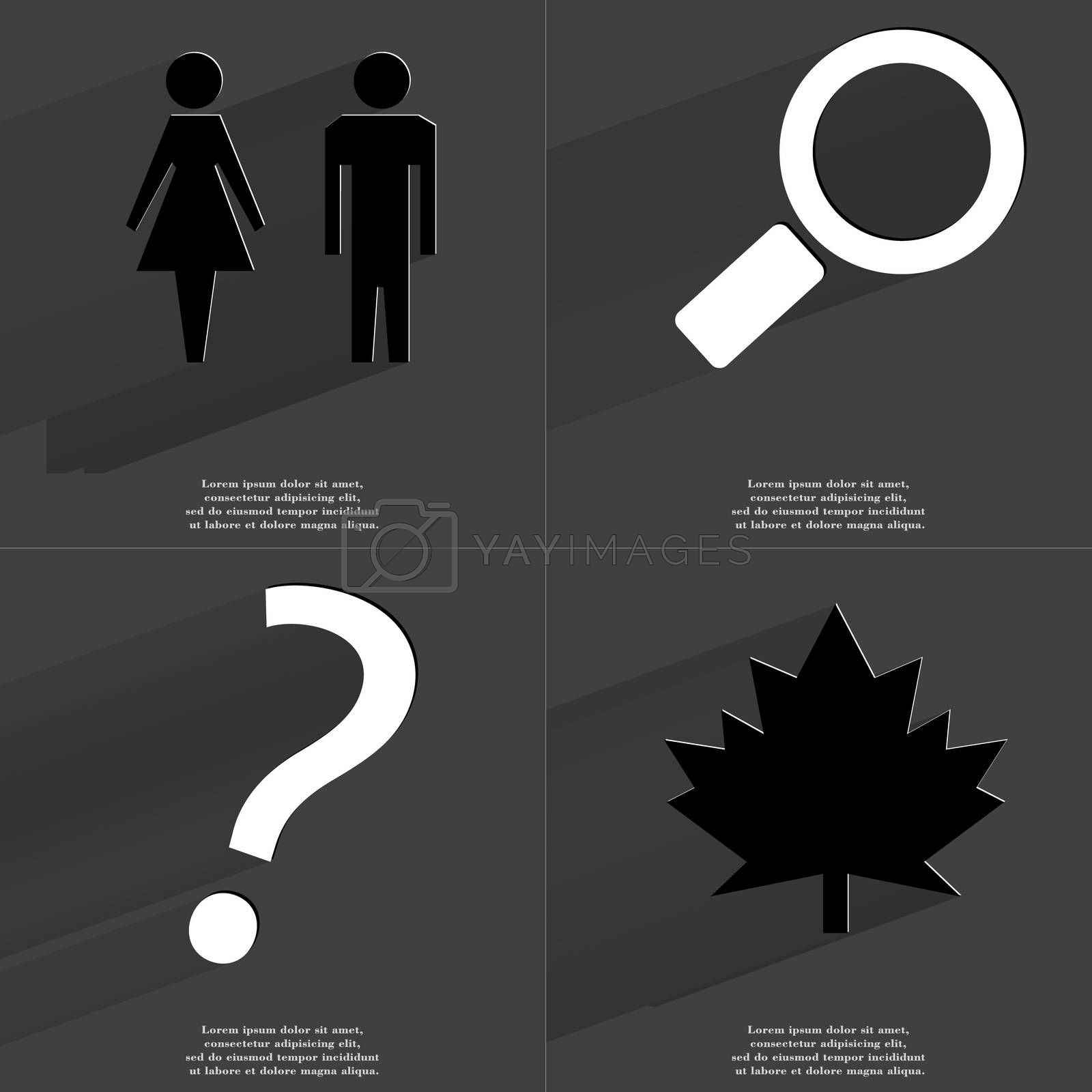 Royalty free image of Silhouette of man and woman, Magnifying glass, Question mark, Maple leaf. Symbols with long shadow. Flat design by serhii_lohvyniuk