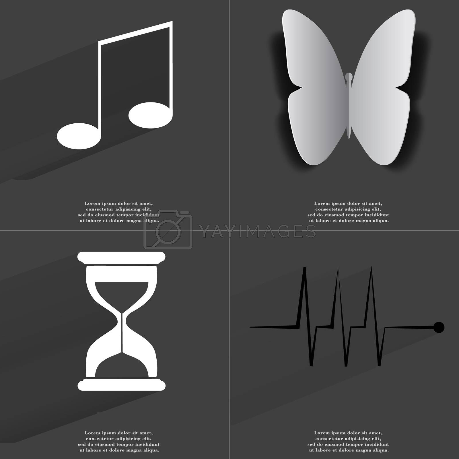 Royalty free image of Note sign, Butterfly, Hourglass, Pulse. Symbols with long shadow. Flat design by serhii_lohvyniuk