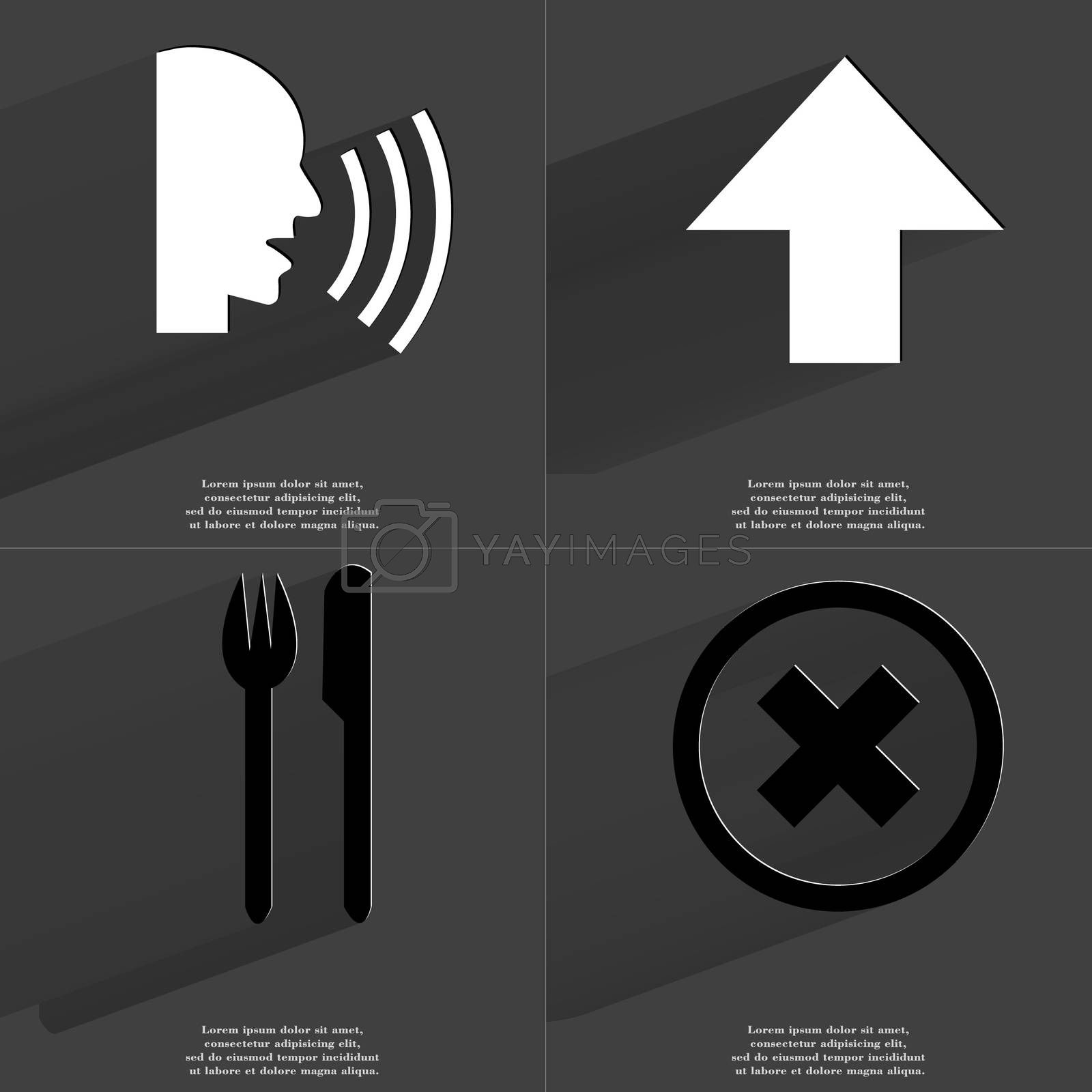Royalty free image of Talk, Arrow directed upwards, Fork and knife, Stop sign. Symbols with long shadow. Flat design by serhii_lohvyniuk
