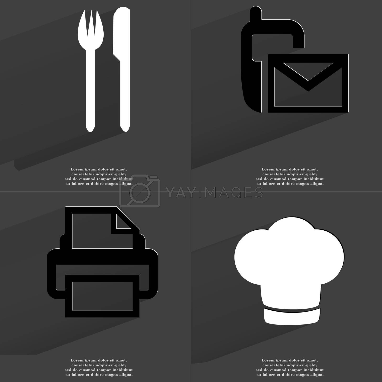 Royalty free image of Fork and knife, SMS sign, Printer, Cooking hat. Symbols with long shadow. Flat design by serhii_lohvyniuk