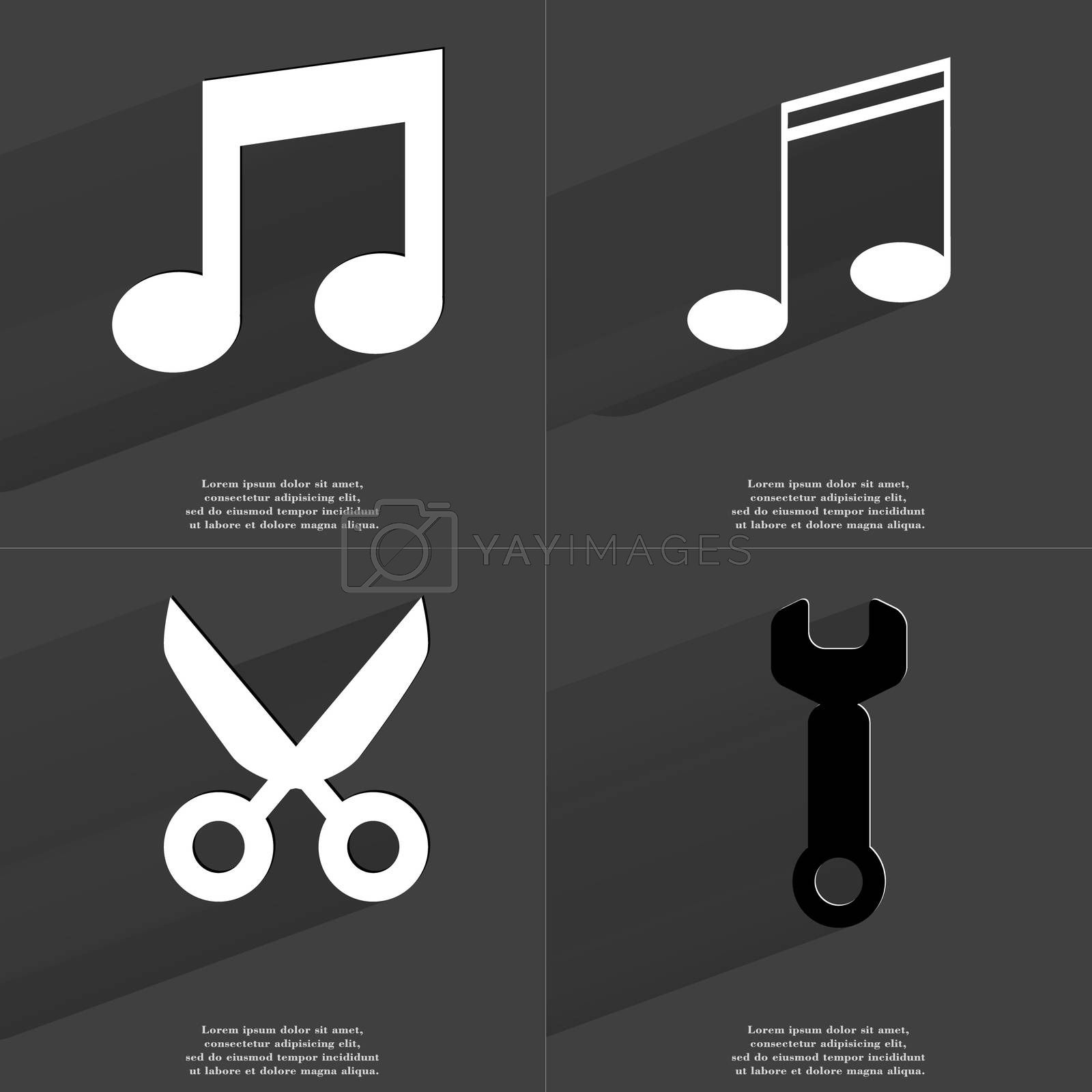 Royalty free image of Note sign, Scissors, Wrench. Symbols with long shadow. Flat design by serhii_lohvyniuk