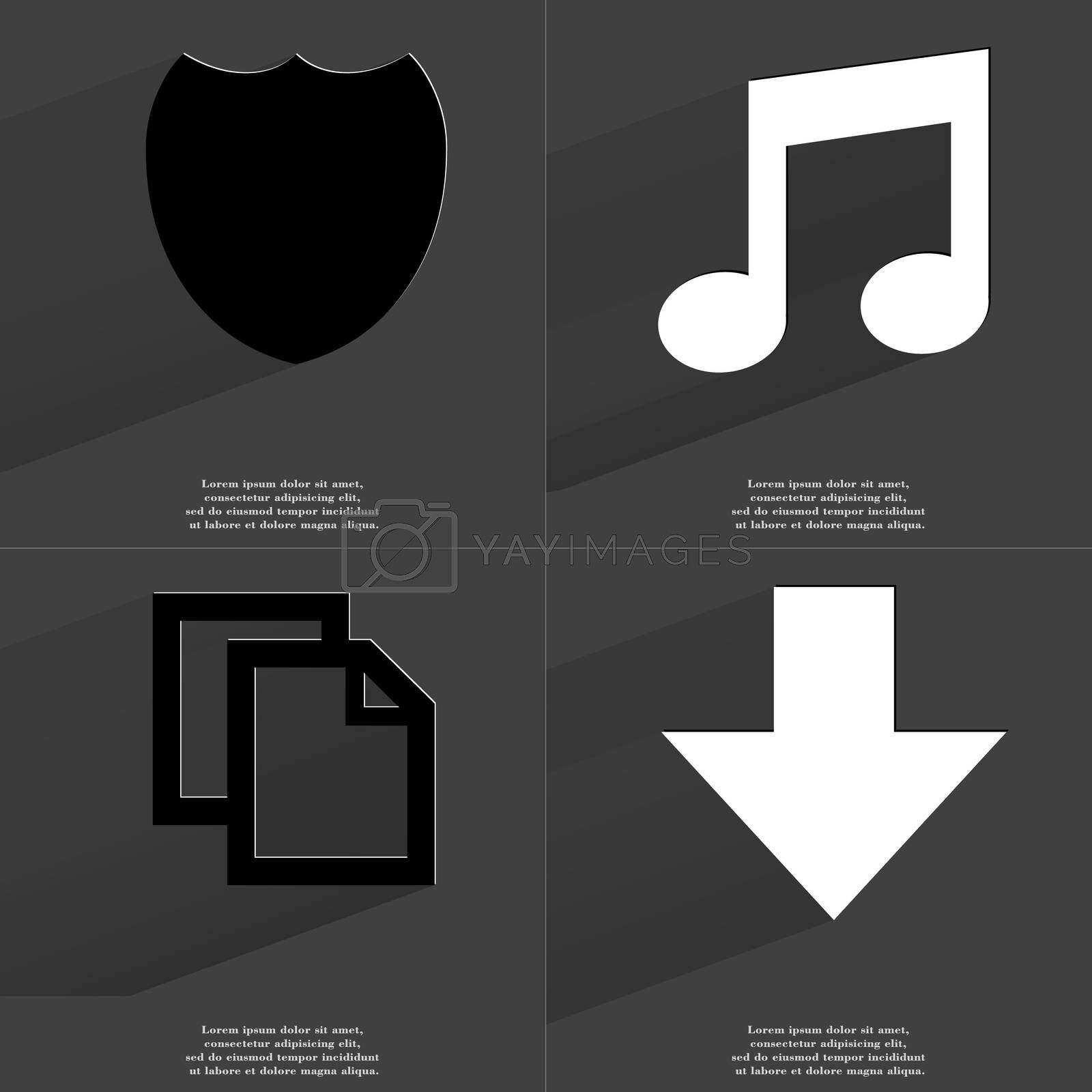 Royalty free image of Badge, Note sign, Copy icon, Arrow directed down. Symbols with long shadow. Flat design by serhii_lohvyniuk