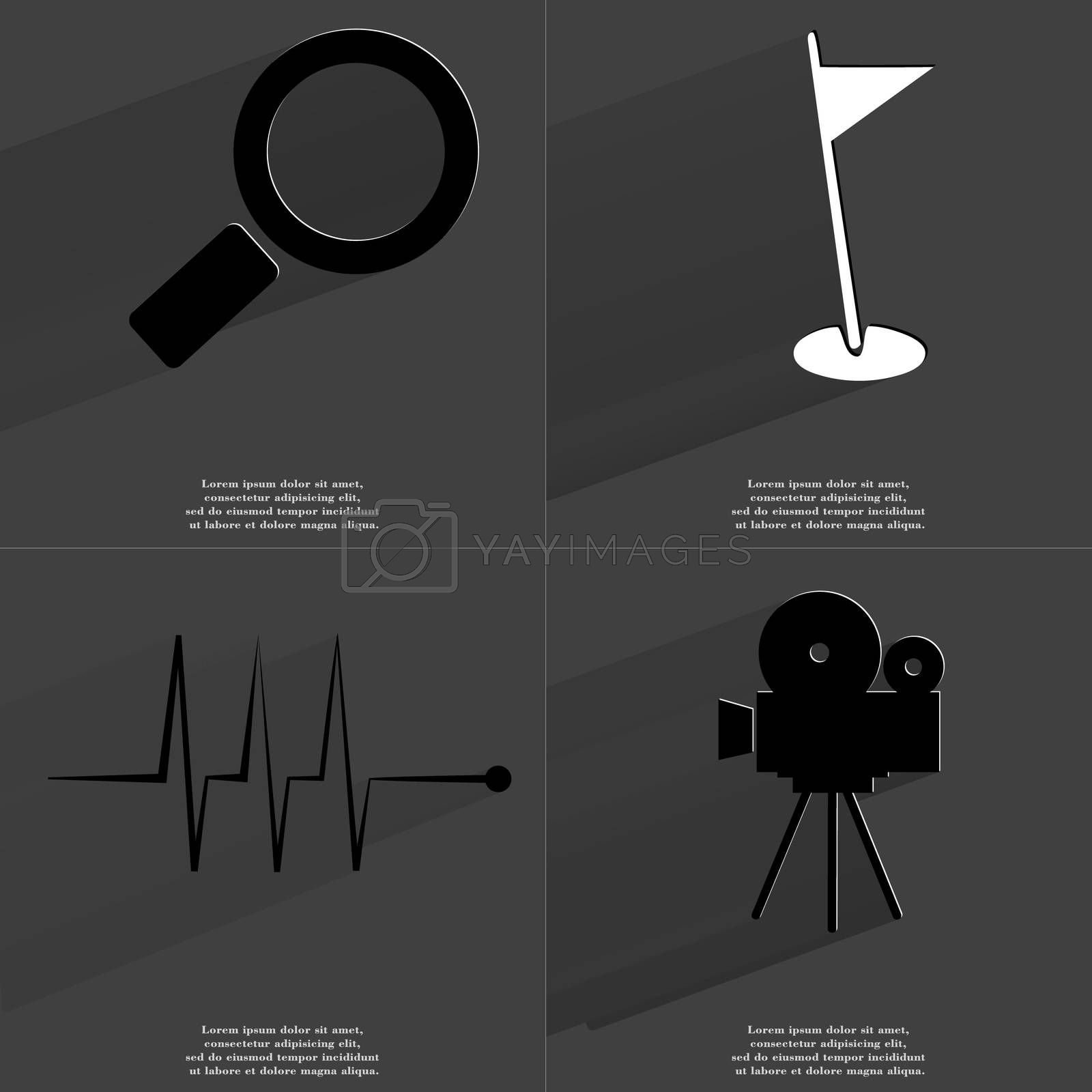 Royalty free image of Magnifying glass, Golf hole, Pulse, Film camera. Symbols with long shadow. Flat design by serhii_lohvyniuk