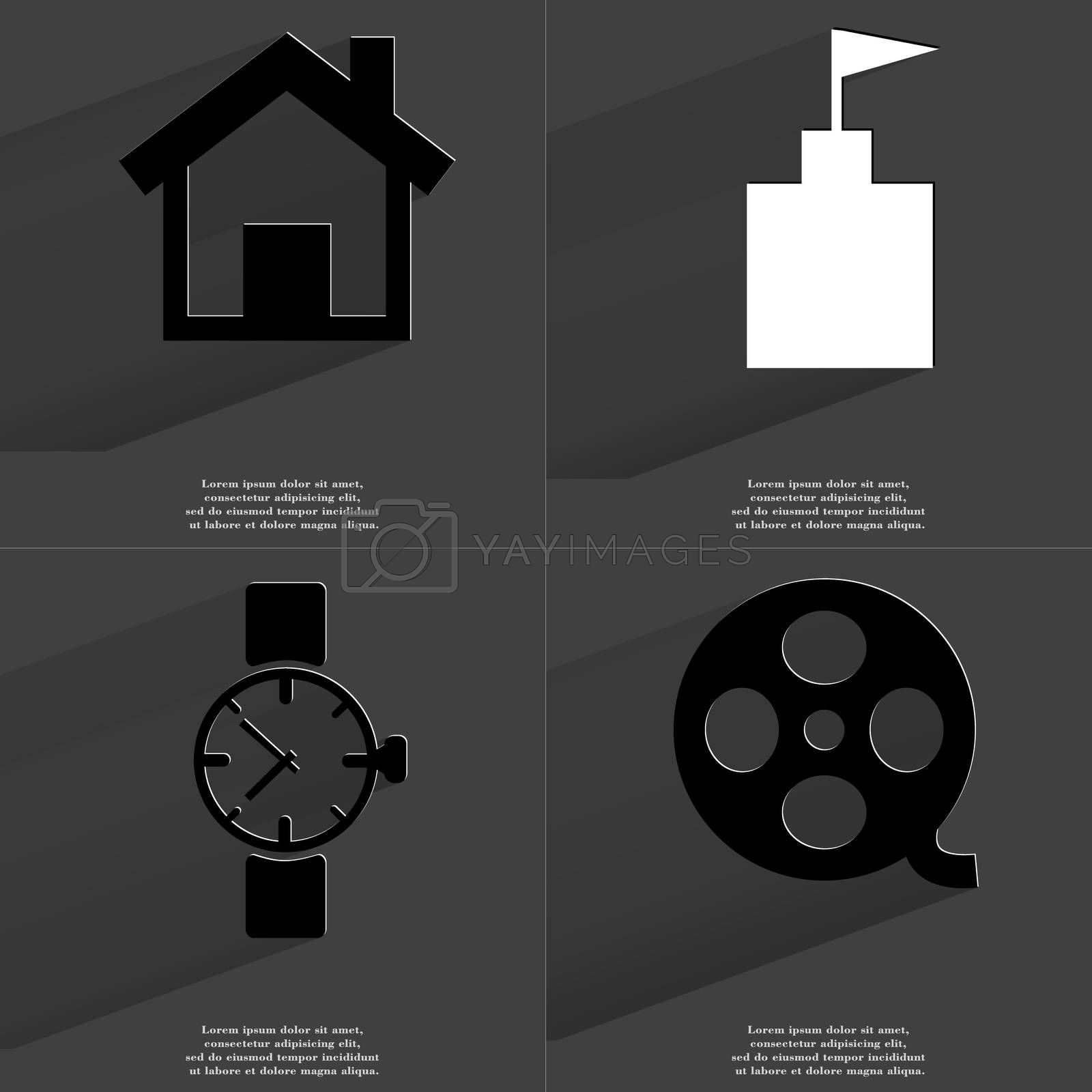 Royalty free image of House, Flag tower, Wrist watch, Videotape. Symbols with long shadow. Flat design by serhii_lohvyniuk