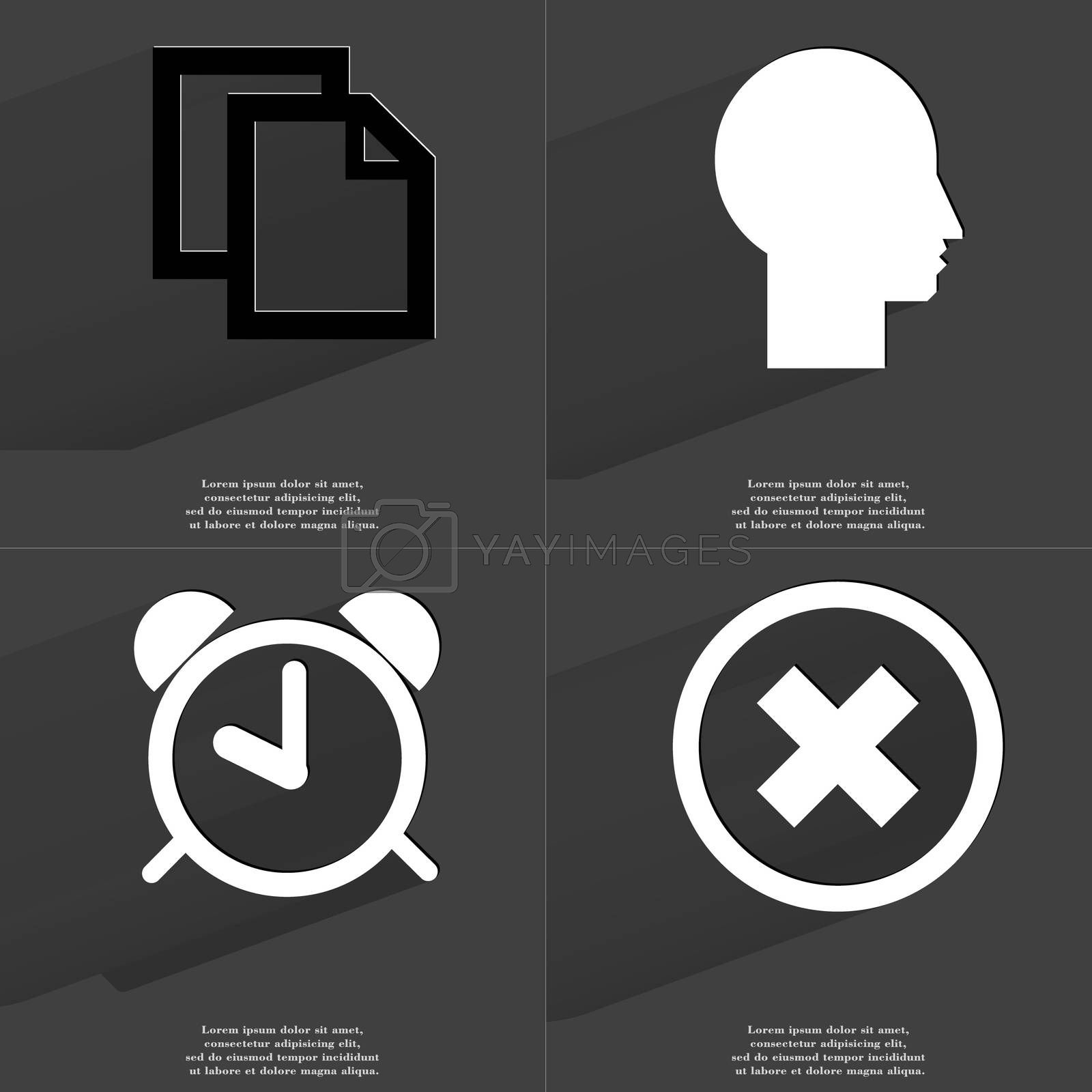 Royalty free image of Copy icon, Silhouette, Alarm clock, Stop icon. Symbols with long shadow. Flat design by serhii_lohvyniuk
