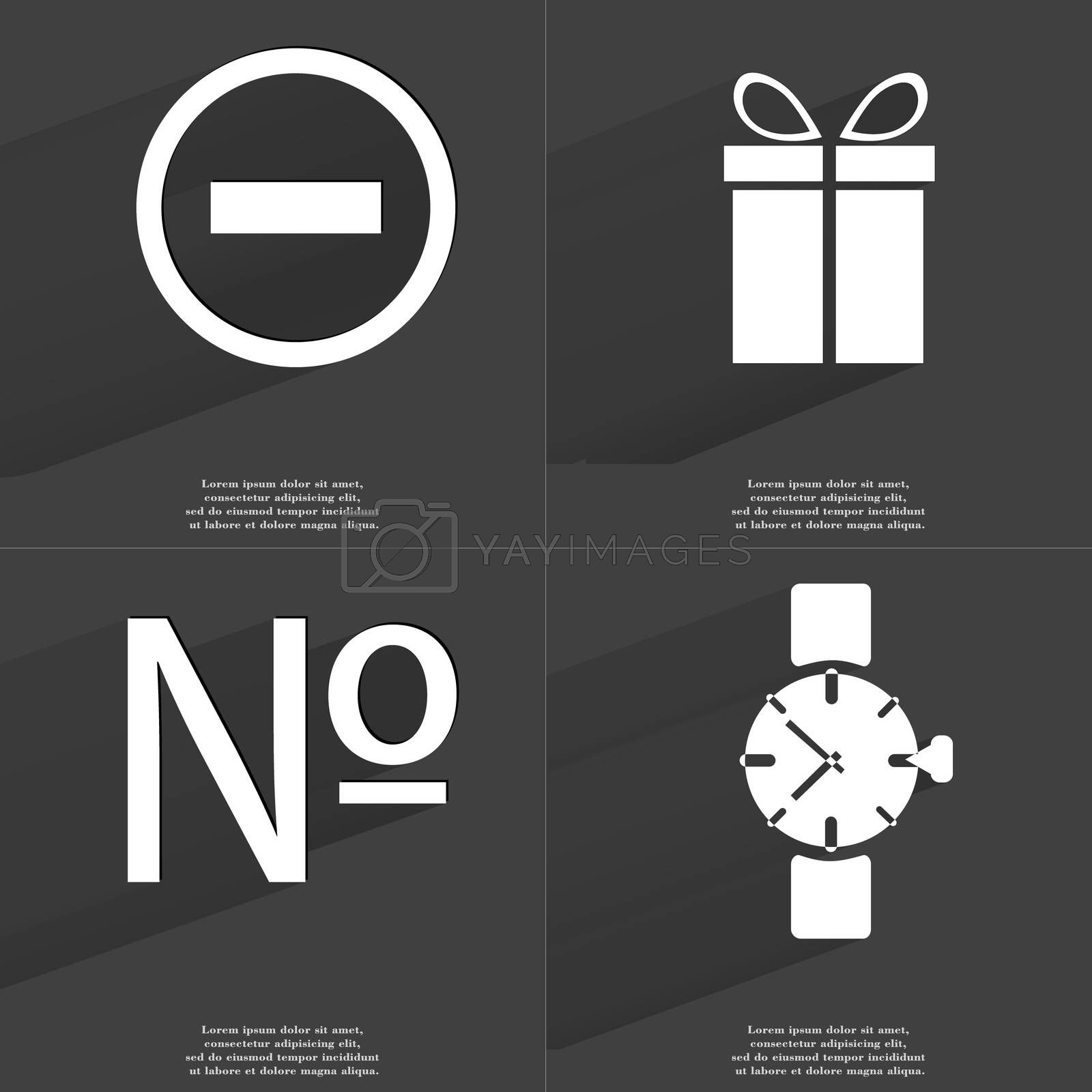 Royalty free image of Minus, Gift, Numero sign, Wrist watch. Symbols with long shadow. Flat design by serhii_lohvyniuk