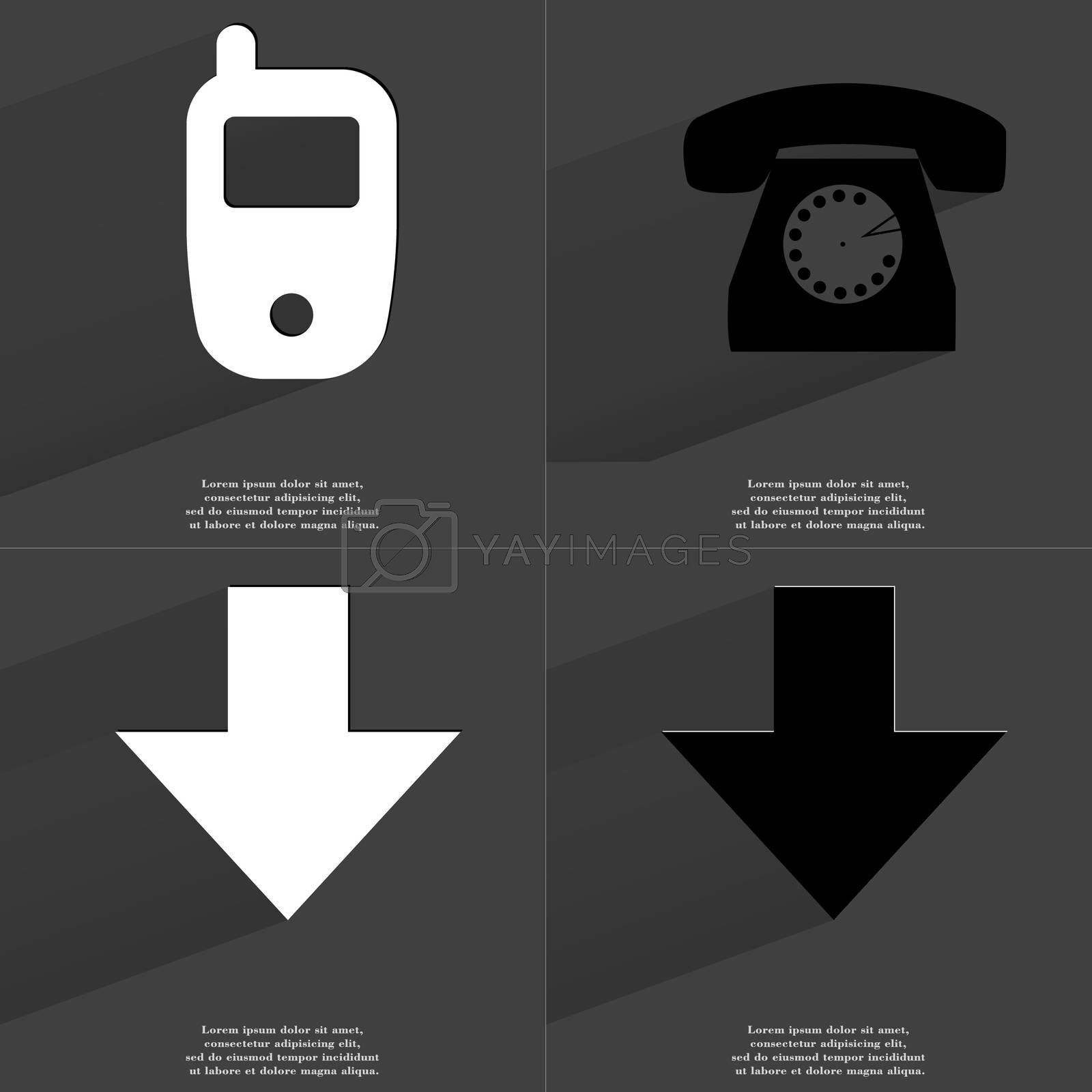Royalty free image of Mobile, Retro phone, Arrow directed down. Symbols with long shadow. Flat design by serhii_lohvyniuk