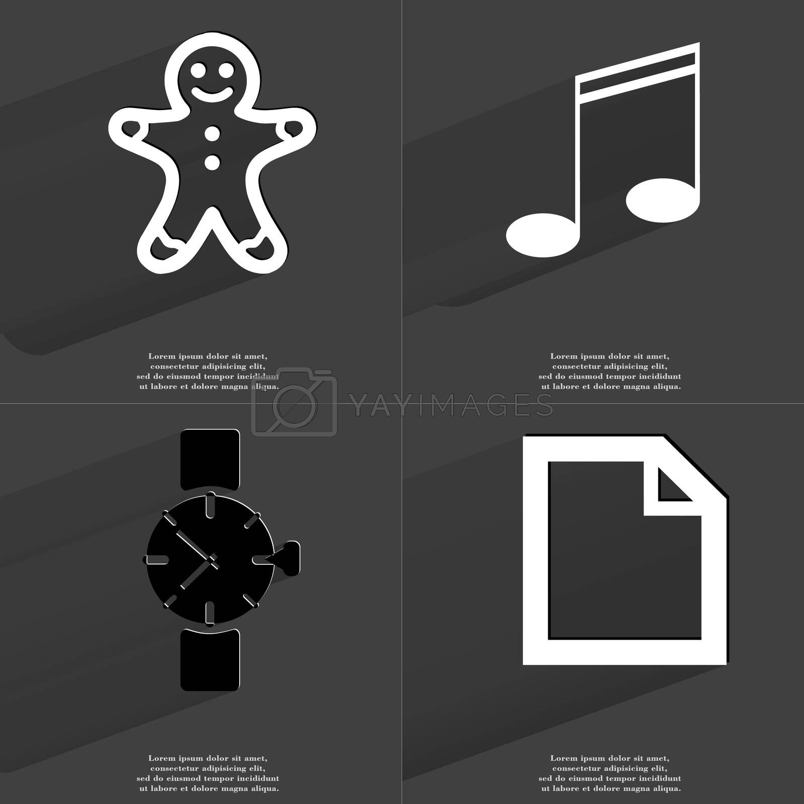 Gingerbread man, Note sign, Wrist watch, File icon. Symbols with long shadow. Flat design by serhii_lohvyniuk