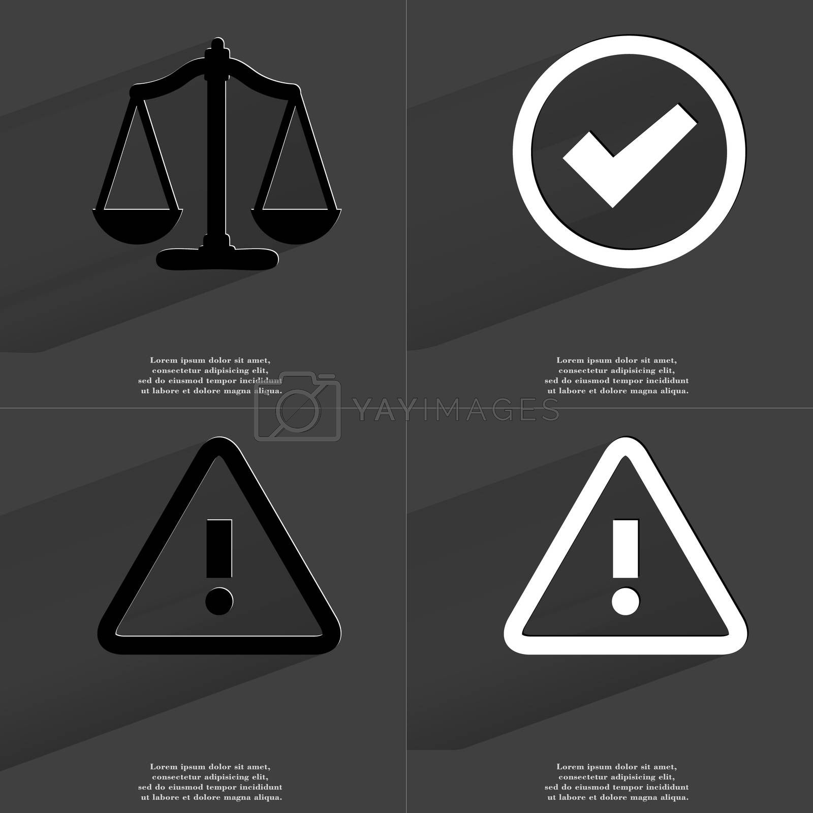 Royalty free image of Scales, Tick sign, Warning sign. Symbols with long shadow. Flat design by serhii_lohvyniuk
