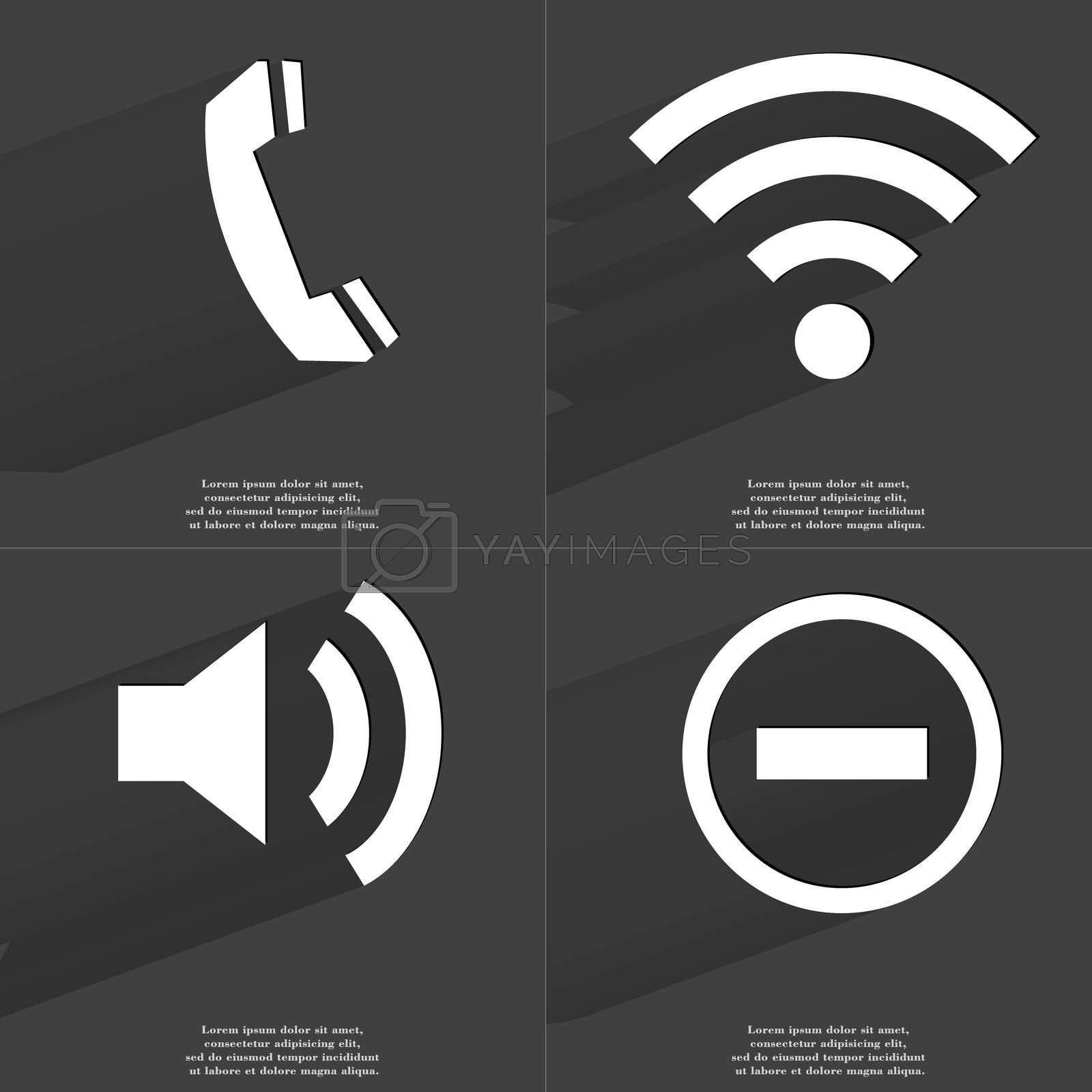 Royalty free image of Receiver, WLAN icon, Sound, Minus sign. Symbols with long shadow. Flat design by serhii_lohvyniuk