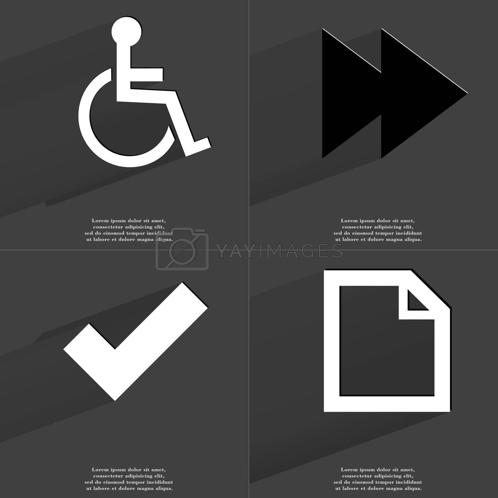 Royalty free image of Disabled person, Two arrows media icon, Tick sign, File icon. Symbols with long shadow. Flat design by serhii_lohvyniuk