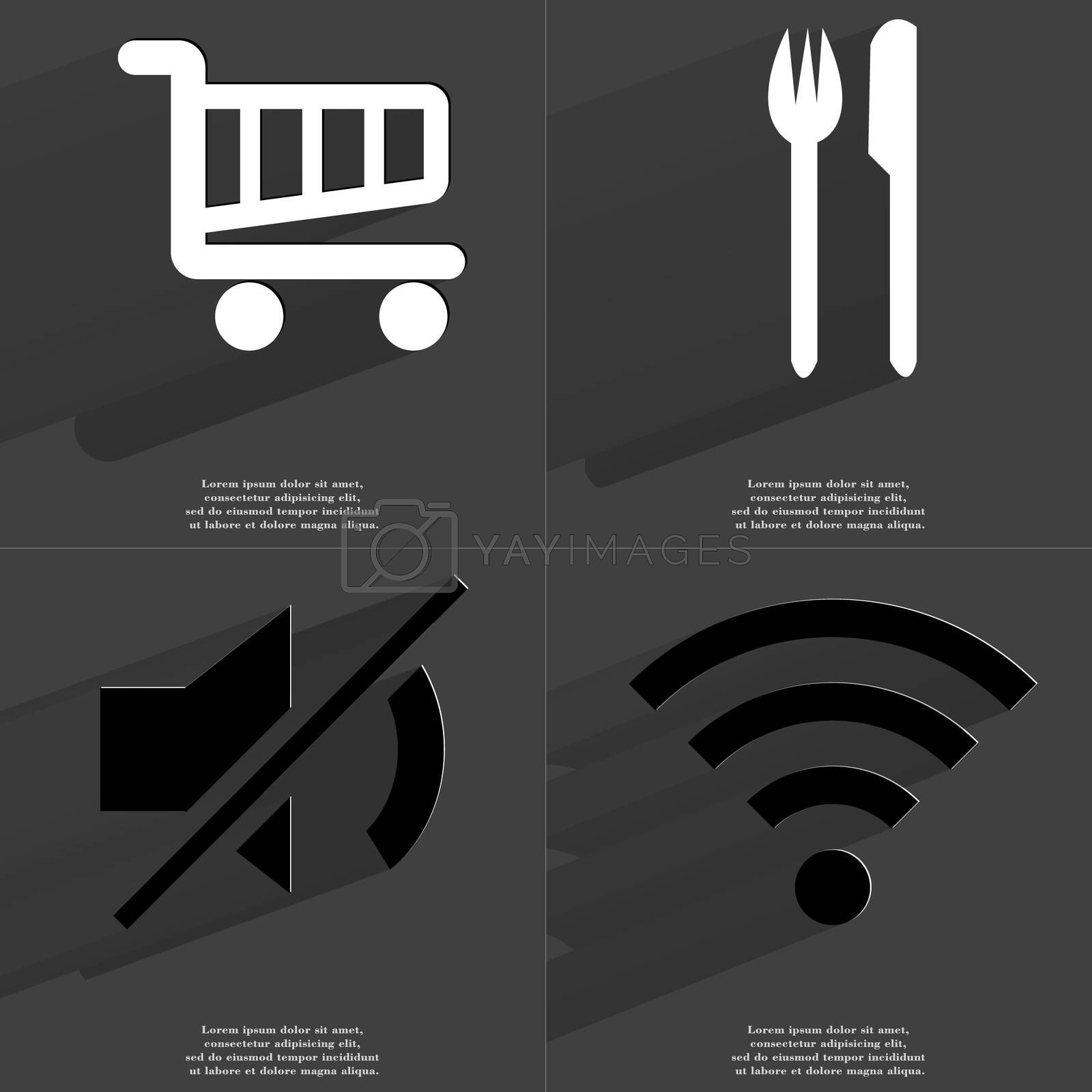 Royalty free image of Shopping cart, Fork and knife, Mute icon, WLAN icon. Symbols with long shadow. Flat design by serhii_lohvyniuk