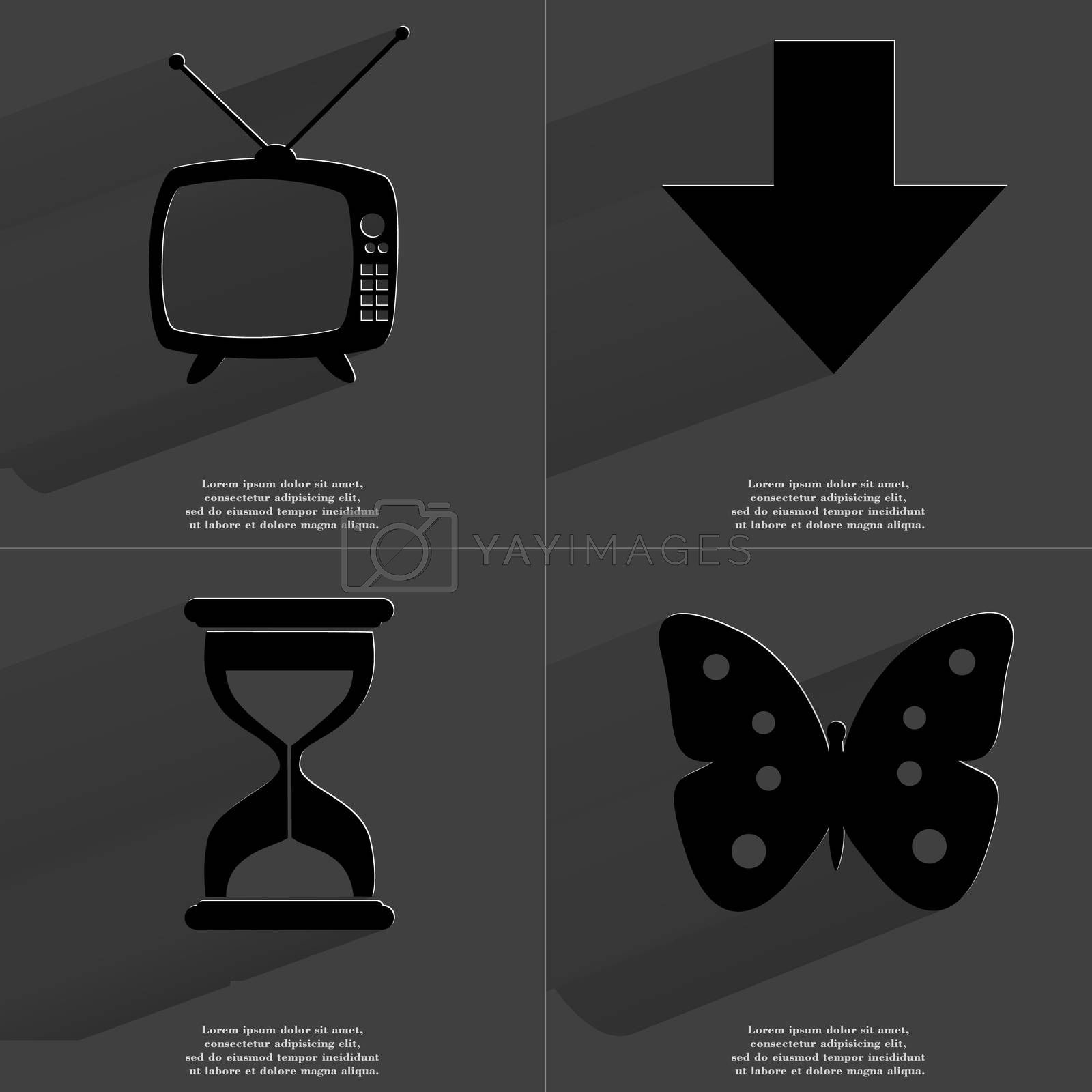 Retro TV, Arrow directed down, Hourglass, Butterfly. Symbols with long shadow. Flat design by serhii_lohvyniuk