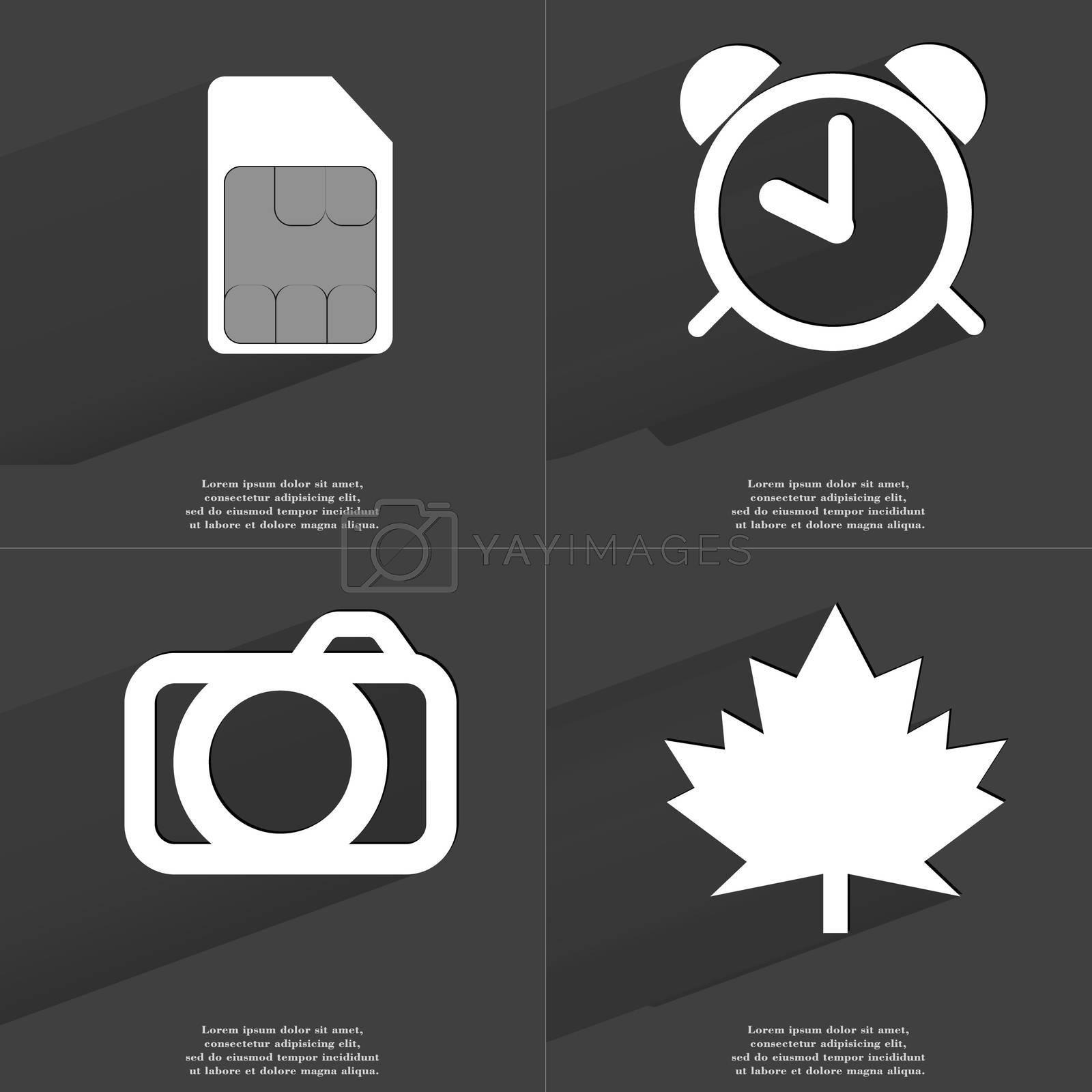 SIM card, Alarm clock, Camera, Maple leaf. Symbols with long shadow. Flat design by serhii_lohvyniuk