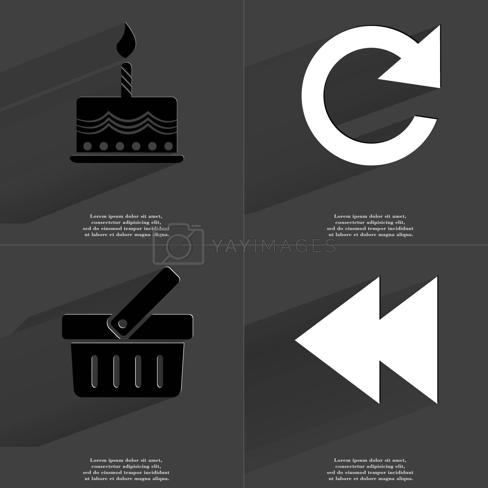 Royalty free image of Cake, Reload icon, Basket, Two arrows media icon. Symbols with long shadow. Flat design by serhii_lohvyniuk