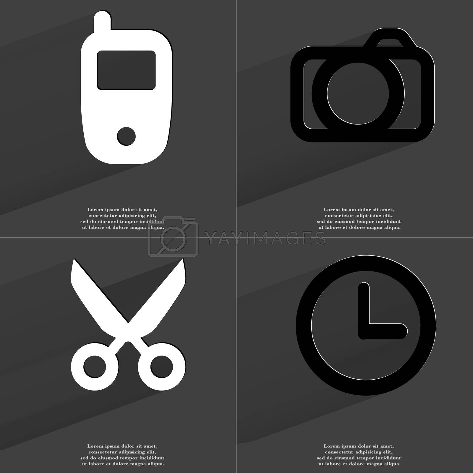 Royalty free image of Mobile phone, Camera, Scissors, Clock. Symbols with long shadow. Flat design by serhii_lohvyniuk