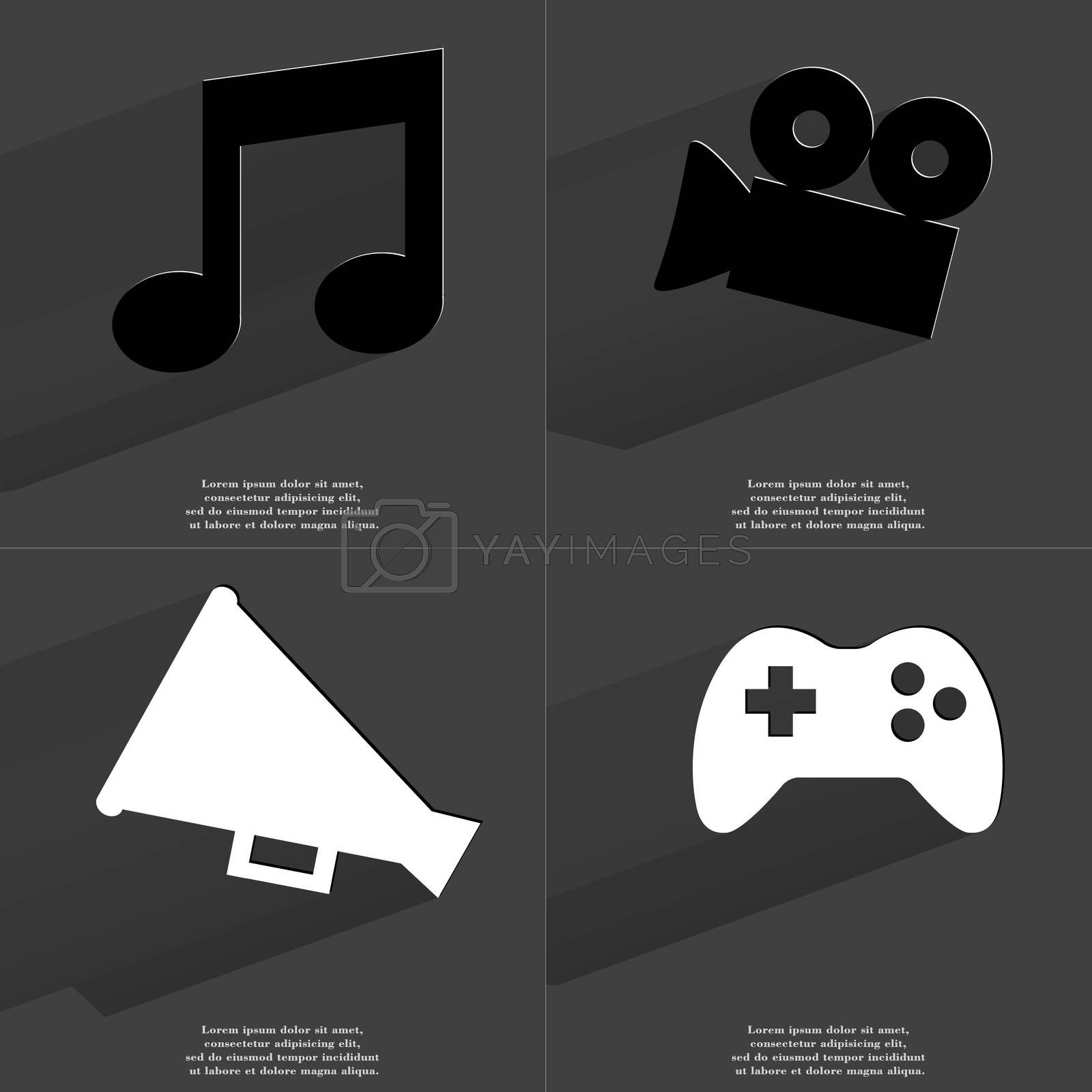 Note sign, Film camera, Megaphone, Gamepad. Symbols with long shadow. Flat design by serhii_lohvyniuk