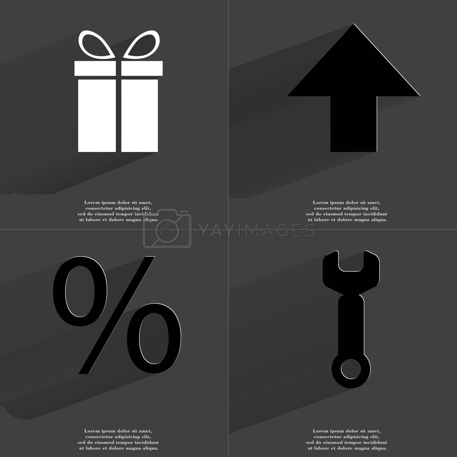 Gift, Arrow directed upwards, Percent sign, Wrench. Symbols with long shadow. Flat design by serhii_lohvyniuk