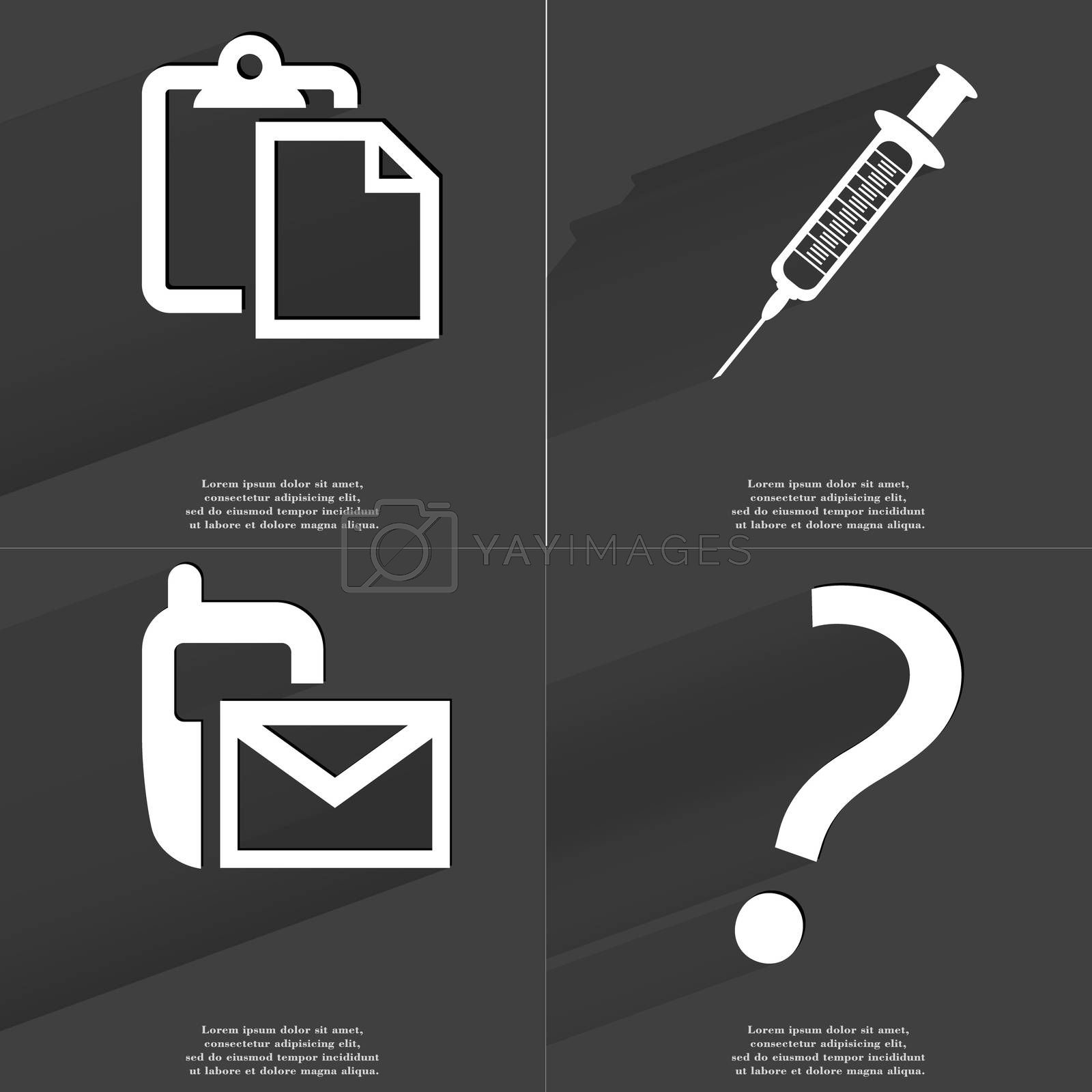 Tasklist, Syringe, SMS icon, Question mark. Symbols with long shadow. Flat design by serhii_lohvyniuk