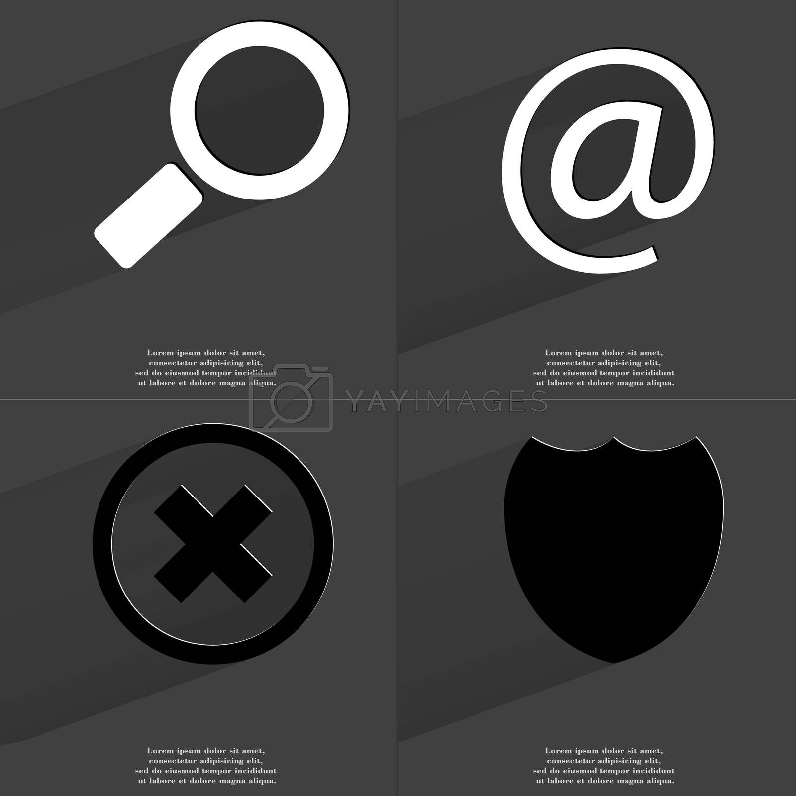 Royalty free image of Magnifying glass, mail, Stop, Badge. Symbols with long shadow. Flat design by serhii_lohvyniuk