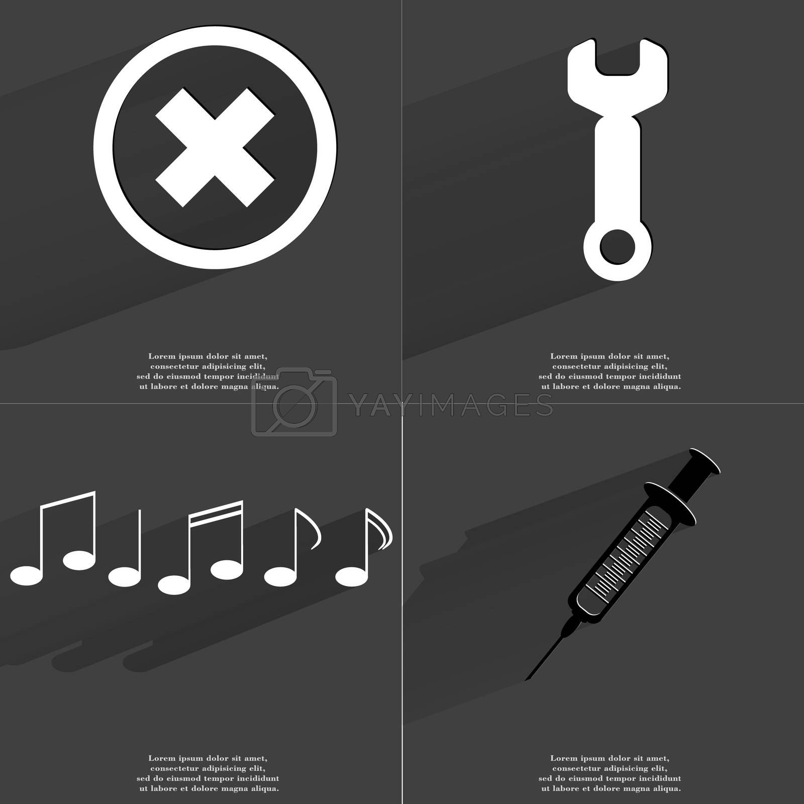 Royalty free image of Stop sign, Wrench, Notes, Syringe. Symbols with long shadow. Flat design by serhii_lohvyniuk