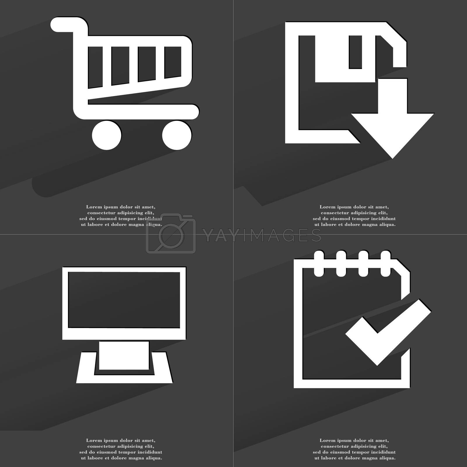 Royalty free image of Shopping cart, Floppy disk download icon, Monitor, Task completed icon. Symbols with long shadow. Flat design by serhii_lohvyniuk