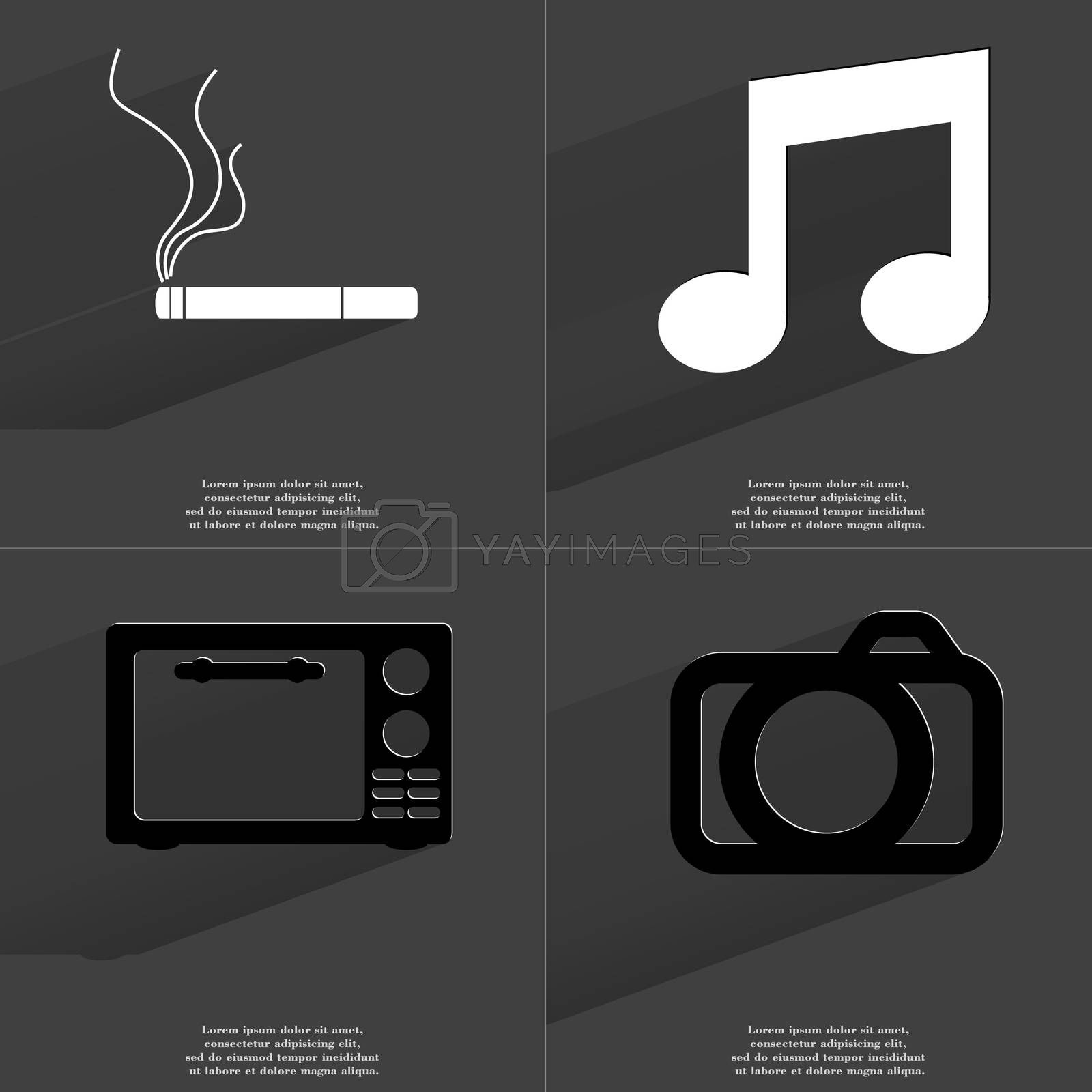 Royalty free image of Cigarette, Note sign, Microwave, Camera. Symbols with long shadow. Flat design by serhii_lohvyniuk