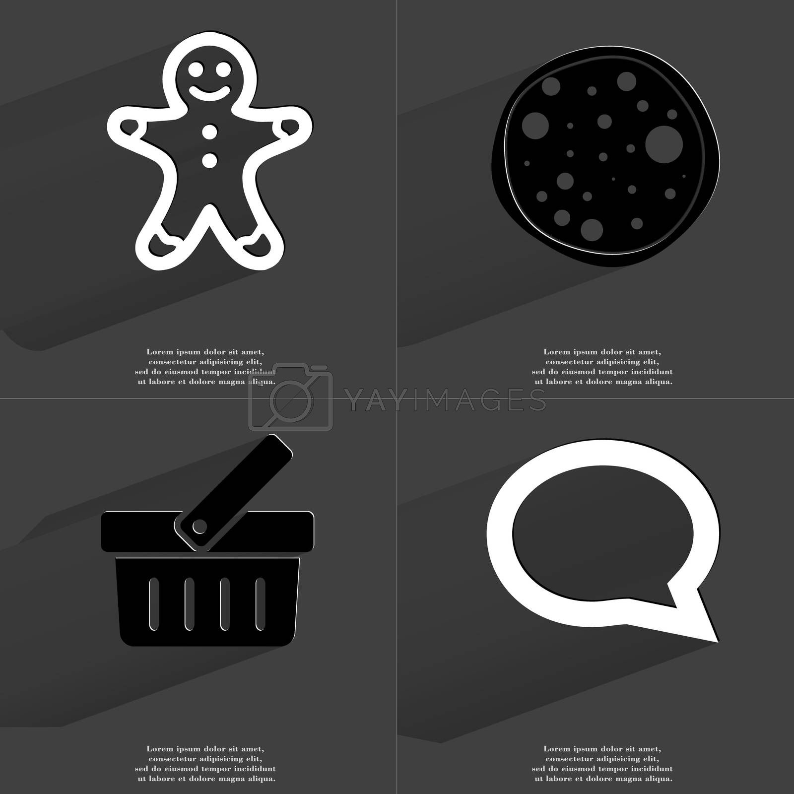 Royalty free image of Gingerbread man, Pizza, Basket, Chat bubble. Symbols with long shadow. Flat design by serhii_lohvyniuk
