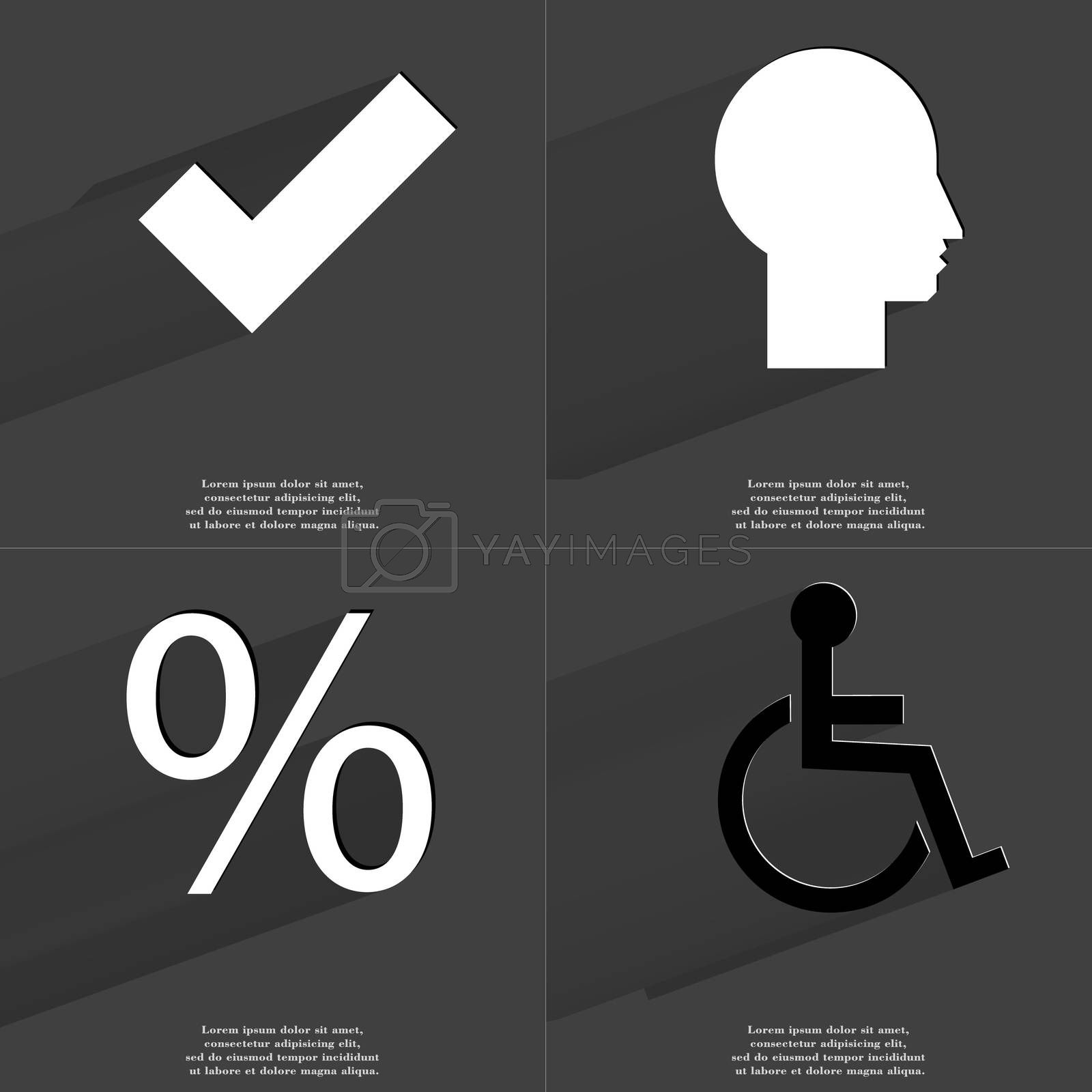 Royalty free image of Tick, Silhouette, Percent, Disabled person. Symbols with long shadow. Flat design by serhii_lohvyniuk