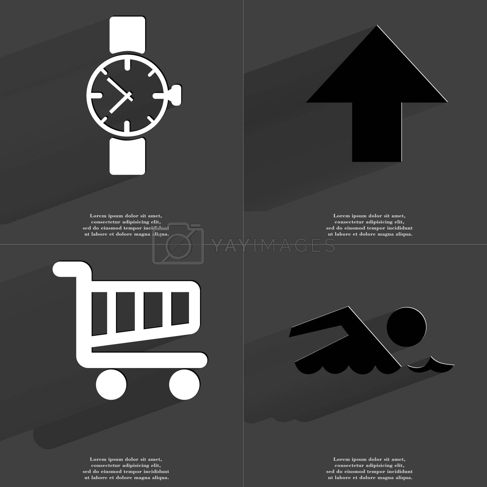 Royalty free image of Wrist clock, Arrow directed upwards, Shopping cart, Silhouette of swimmer. Symbols with long shadow. Flat design by serhii_lohvyniuk