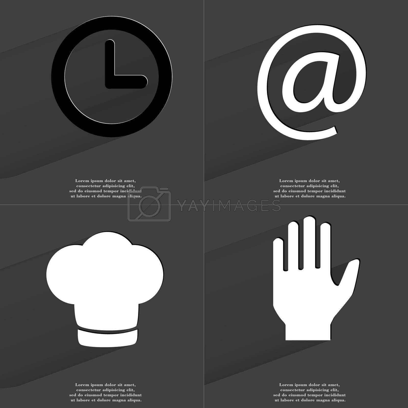 Royalty free image of Clock, At sign, Cooking hat, Hand. Symbols with long shadow. Flat design by serhii_lohvyniuk
